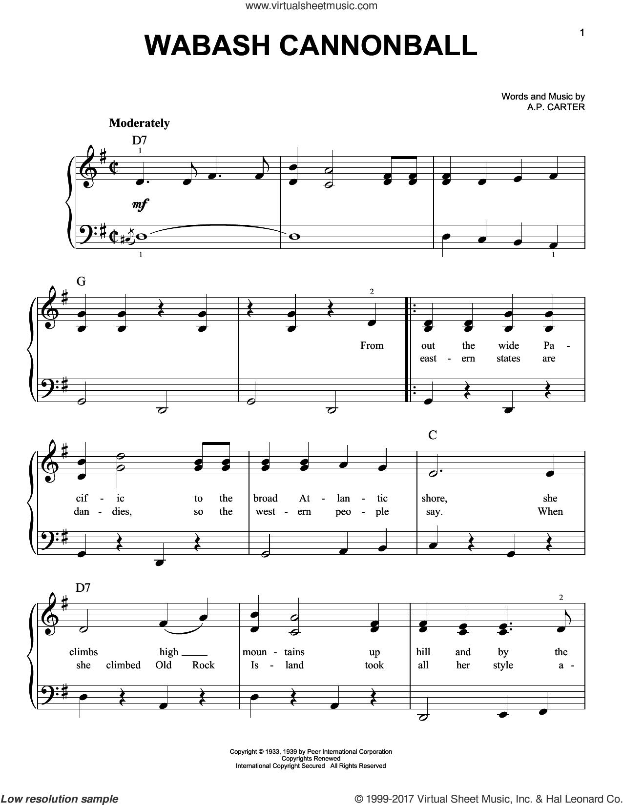 Wabash Cannonball sheet music for piano solo by A.P. Carter and The Carter Family. Score Image Preview.