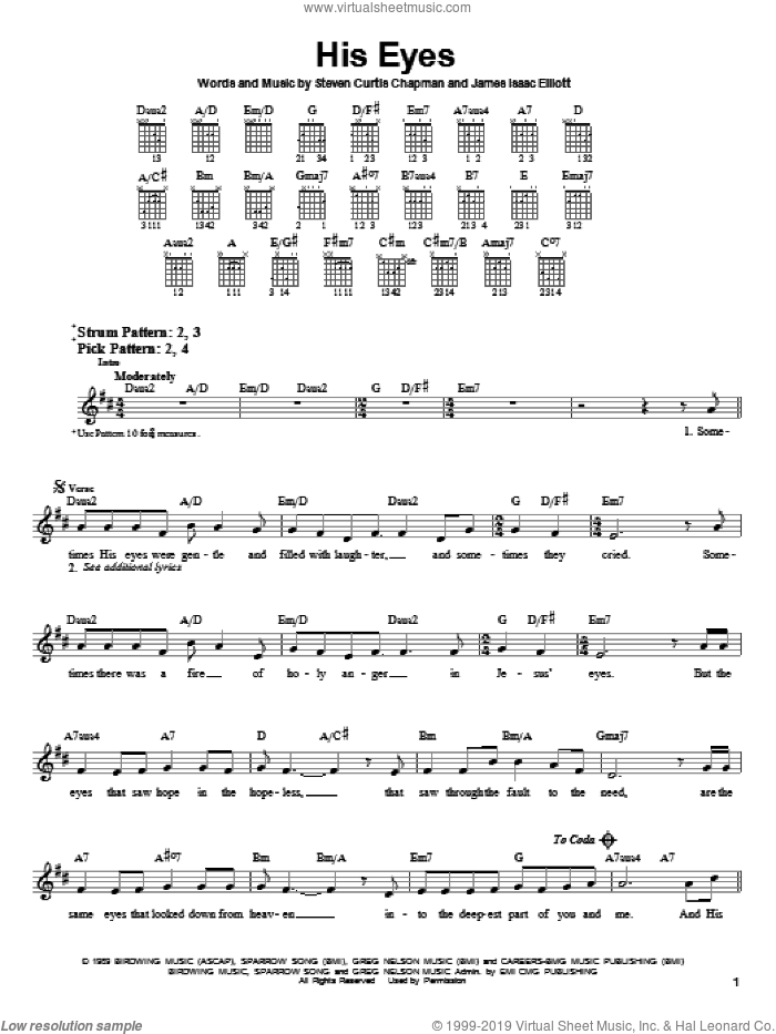 His Eyes sheet music for guitar solo (chords) by Steven Curtis Chapman and James Isaac Elliott, easy guitar (chords)