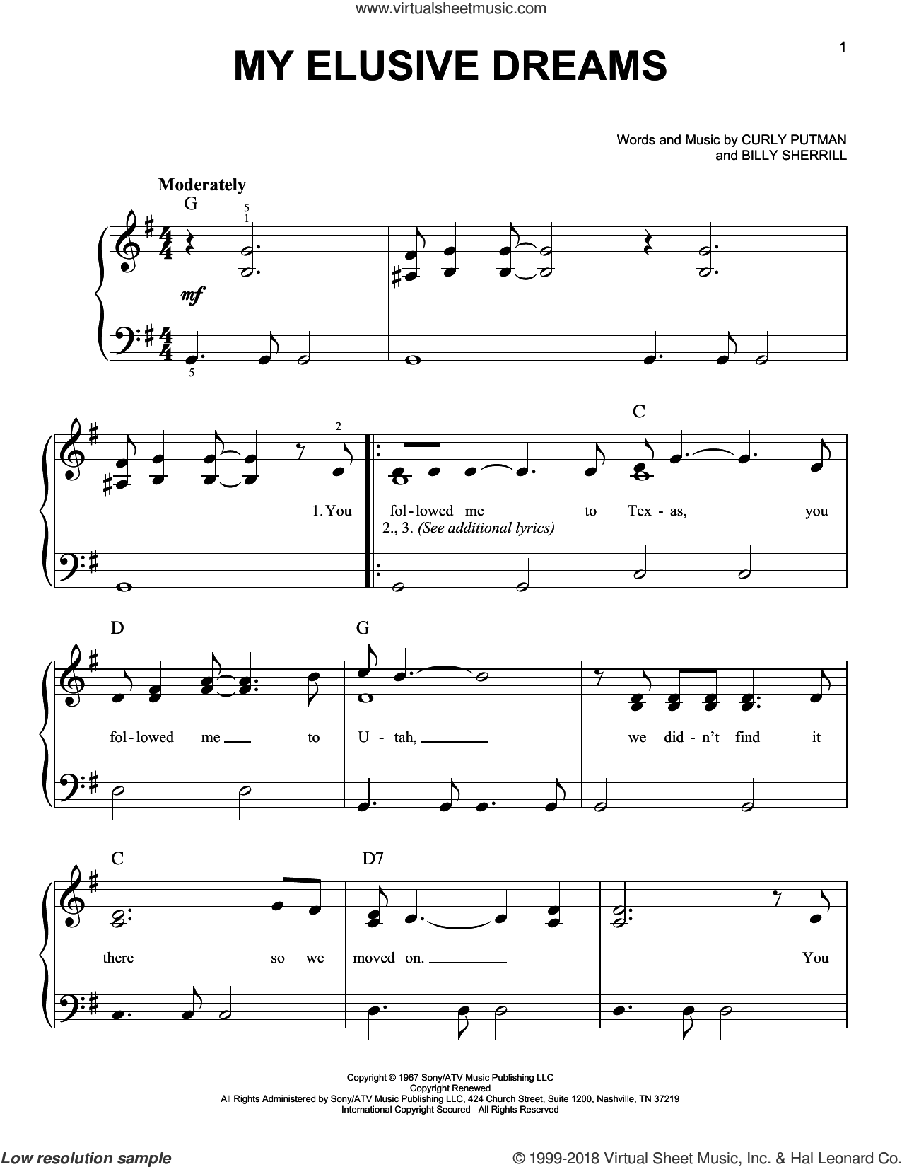 My Elusive Dreams sheet music for piano solo by Charlie Rich, Billy Sherrill and Curly Putman, easy skill level