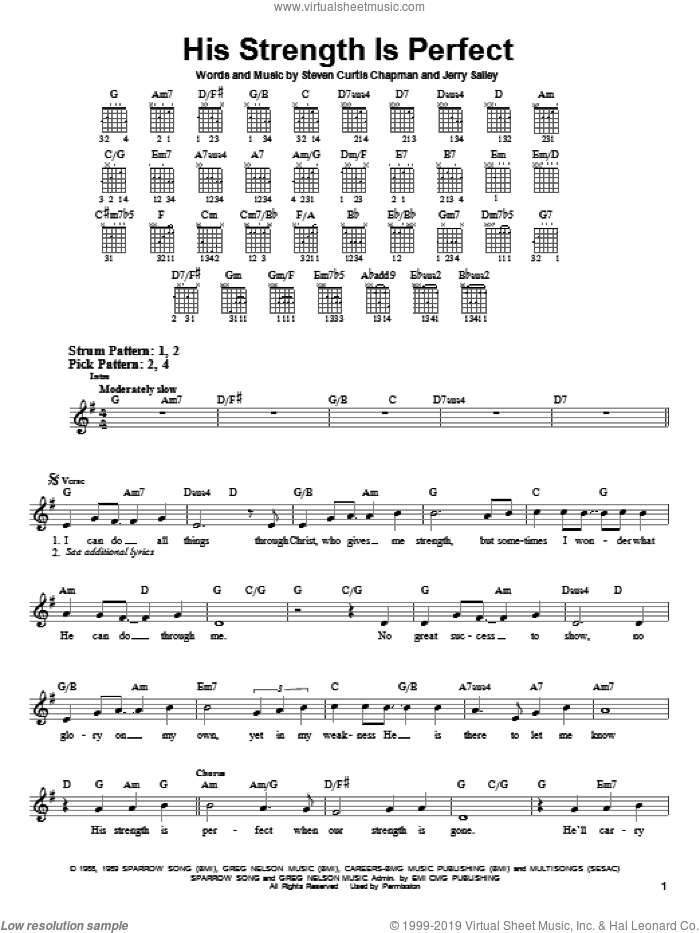 His Strength Is Perfect sheet music for guitar solo (chords) by Steven Curtis Chapman and Jerry Salley, easy guitar (chords)