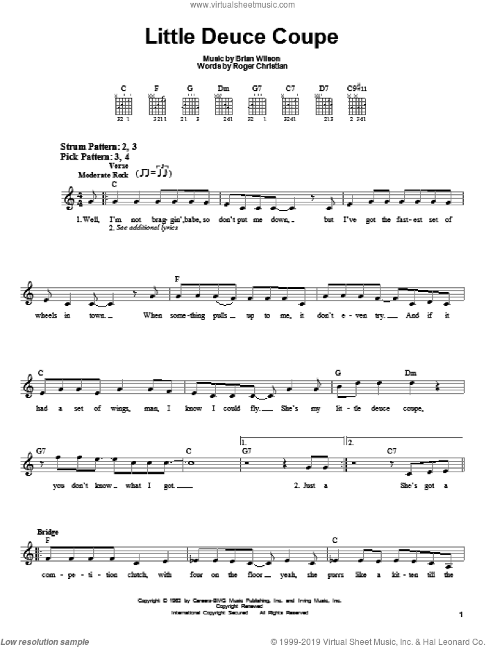 Little Deuce Coupe sheet music for guitar solo (chords) by Roger Christian, The Beach Boys and Brian Wilson. Score Image Preview.