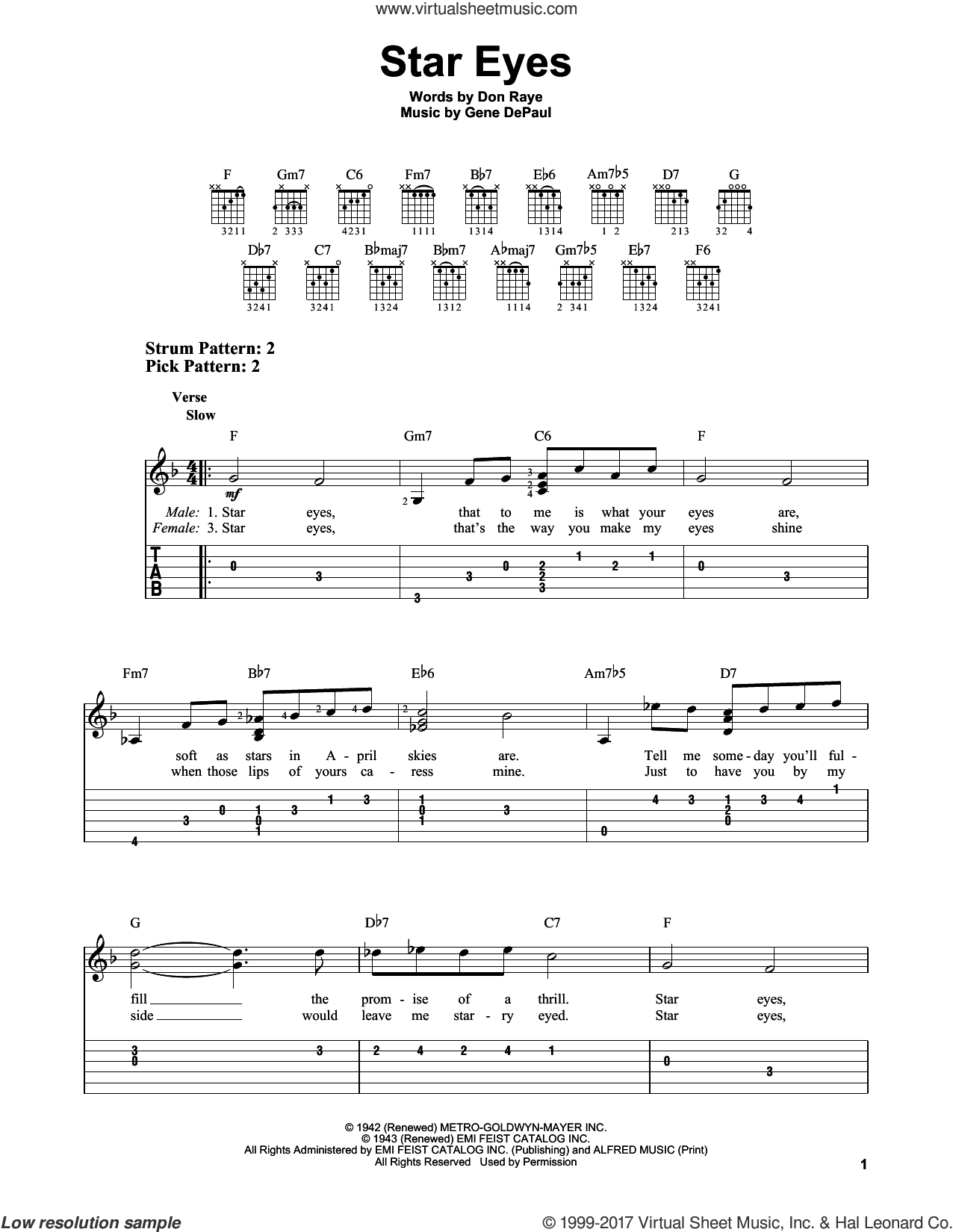 Star Eyes sheet music for guitar solo (easy tablature) by Charlie Parker, Don Raye and Gene DePaul. Score Image Preview.
