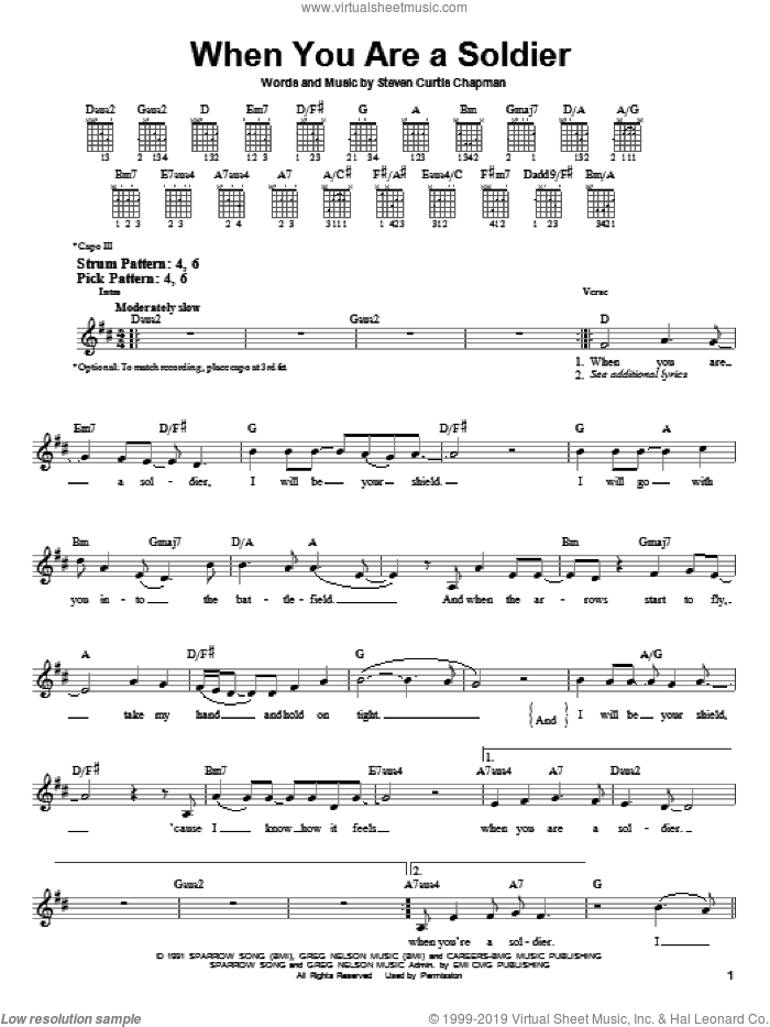When You Are A Soldier sheet music for guitar solo (chords) by Steven Curtis Chapman, easy guitar (chords). Score Image Preview.