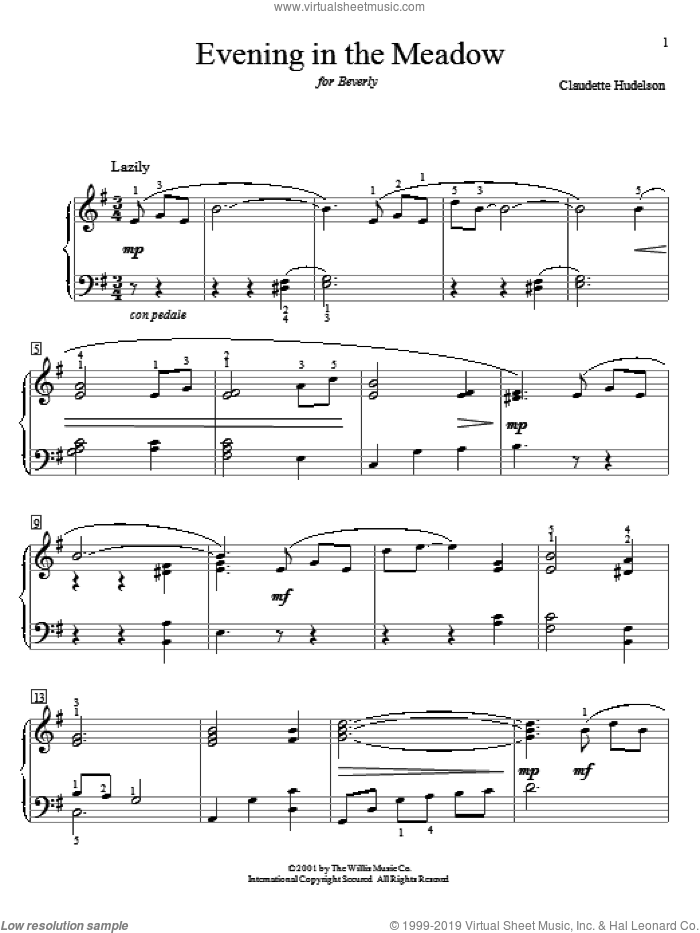 Evening In The Meadow sheet music for piano solo (elementary) by Claudette Hudelson, beginner piano (elementary)