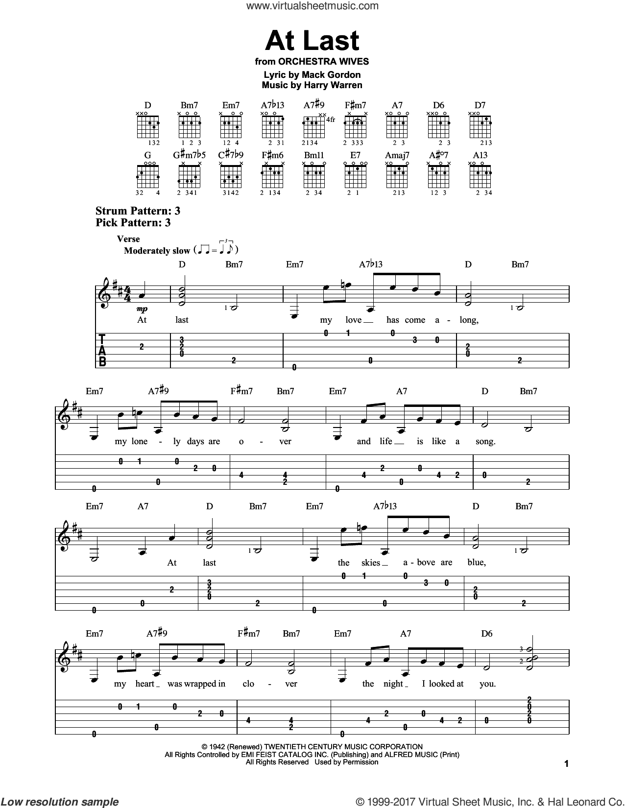 At Last sheet music for guitar solo (easy tablature) by Mack Gordon, Celine Dion, Etta James and Harry Warren. Score Image Preview.