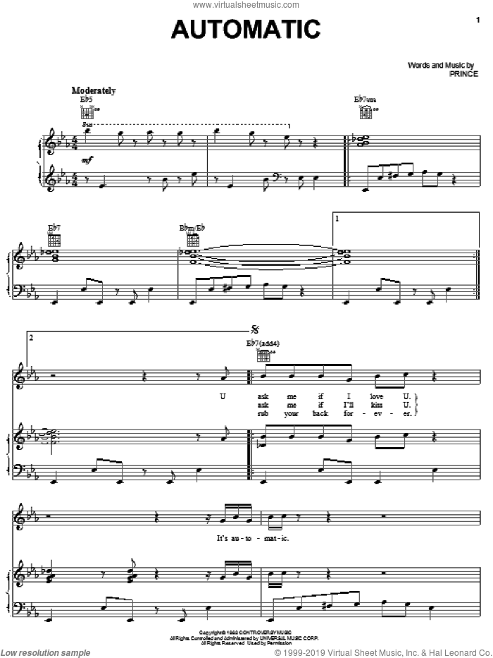 Automatic sheet music for voice, piano or guitar by Prince, intermediate skill level