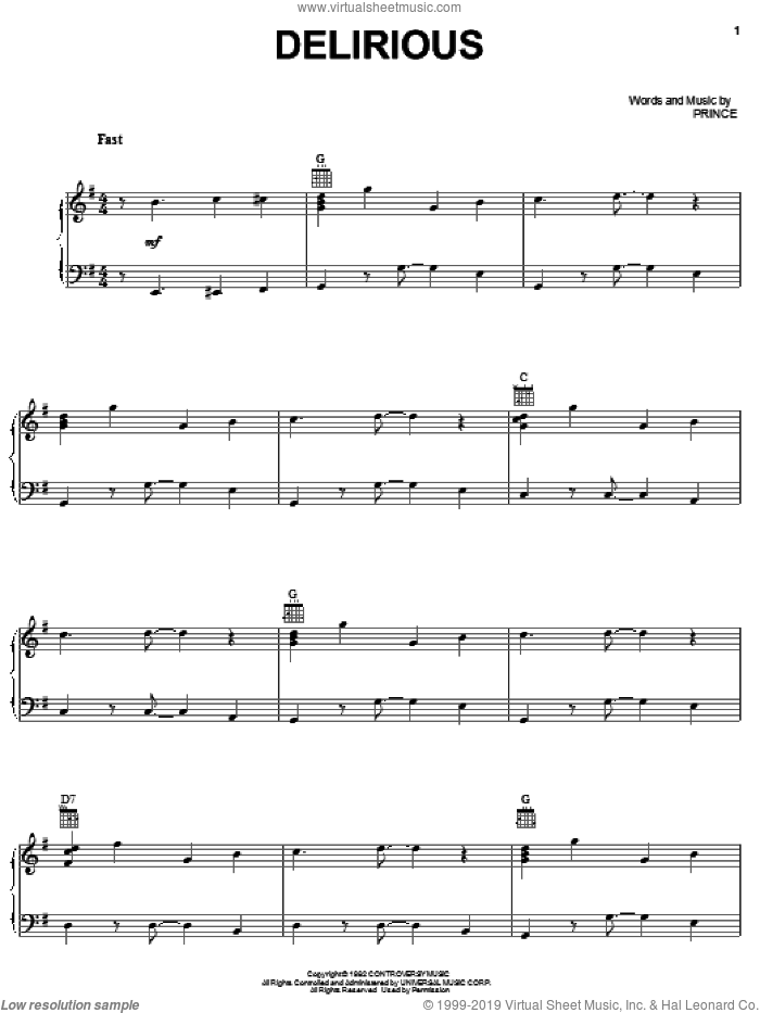 Delirious sheet music for voice, piano or guitar by Prince, intermediate skill level