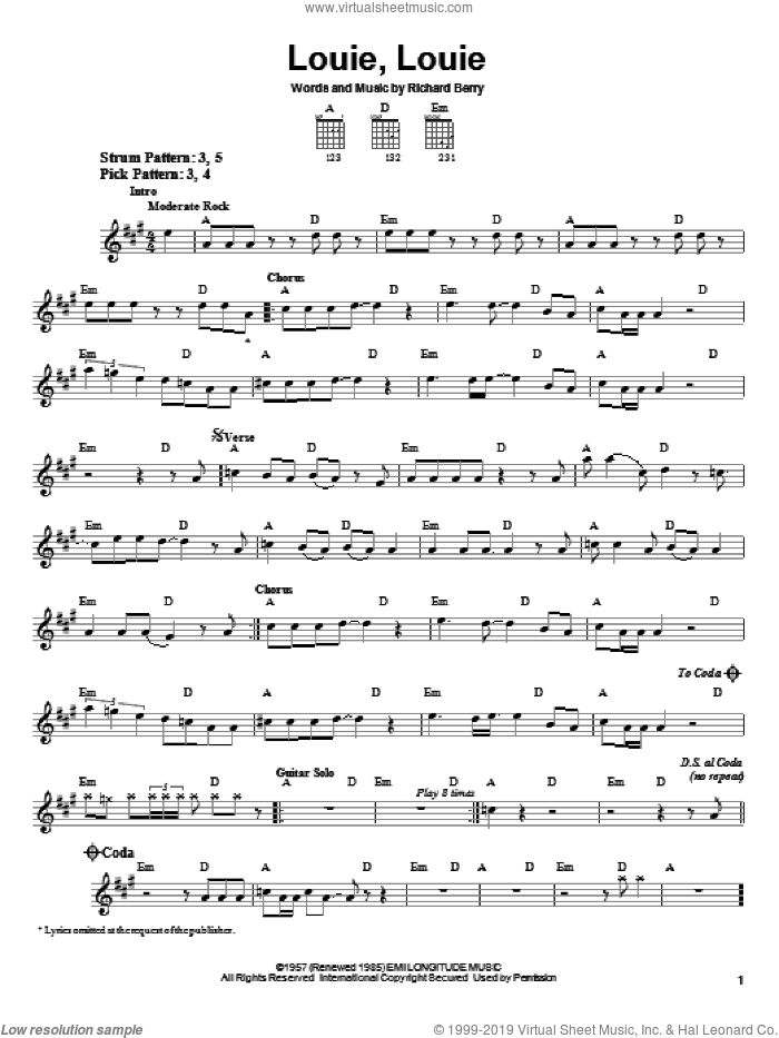 Louie, Louie sheet music for guitar solo (chords) by The Kingsmen and Richard Berry, easy guitar (chords)