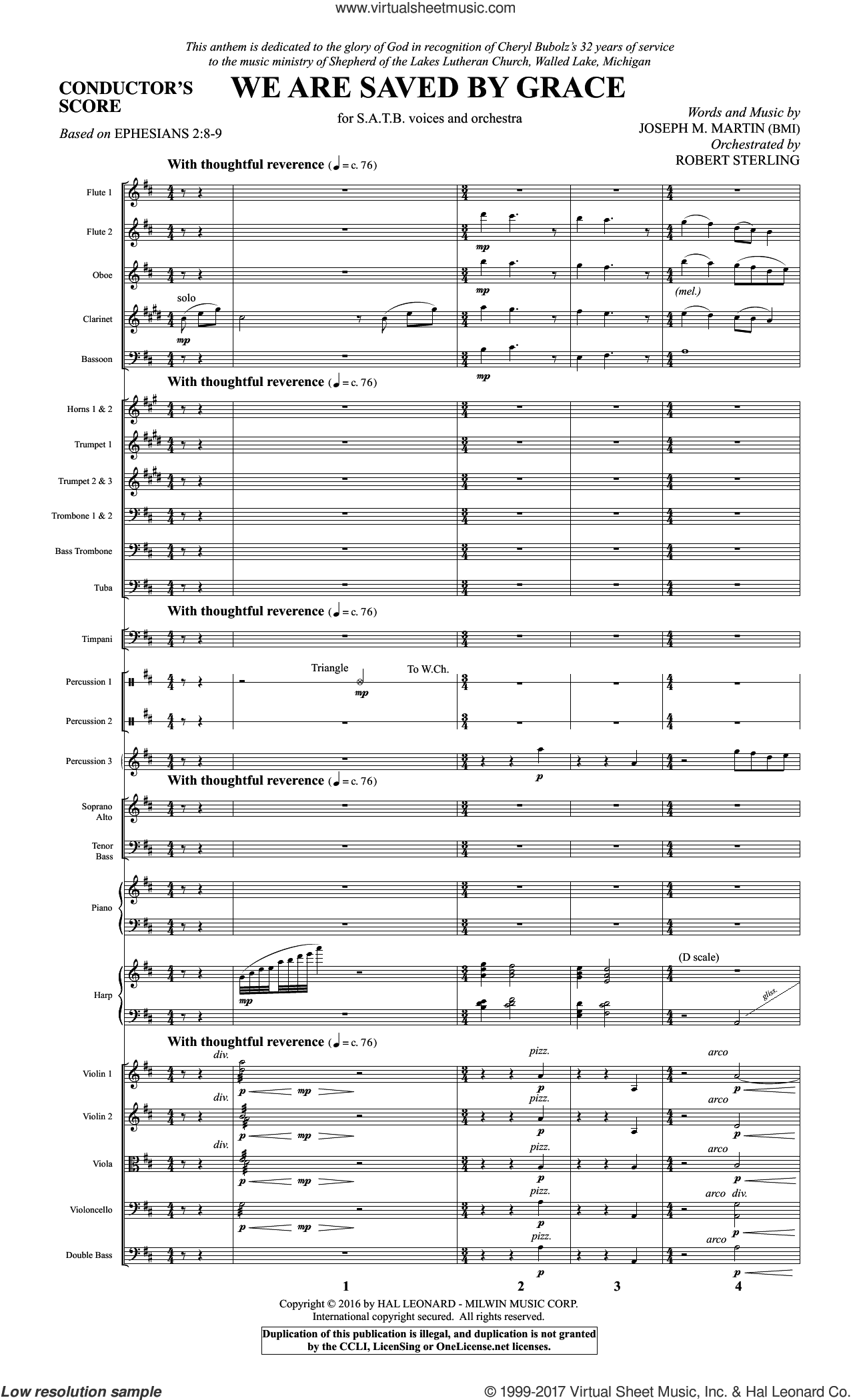 We Are Saved by Grace (COMPLETE) sheet music for orchestra/band by Joseph M. Martin and Ephesians 2:8-9, intermediate