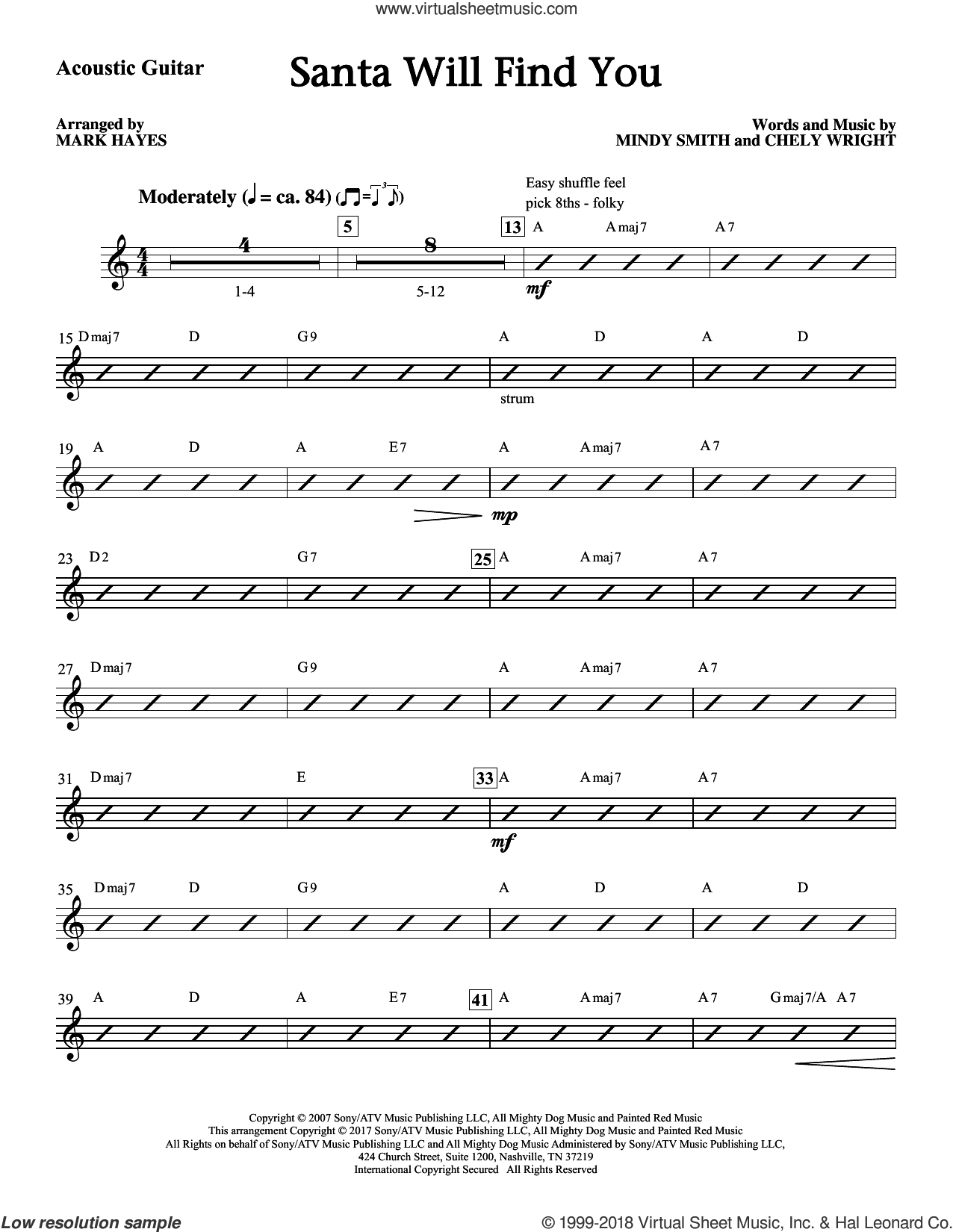 Santa Will Find You (complete set of parts) sheet music for orchestra/band by Mark Hayes, Chely Wright and Mindy Smith, intermediate skill level