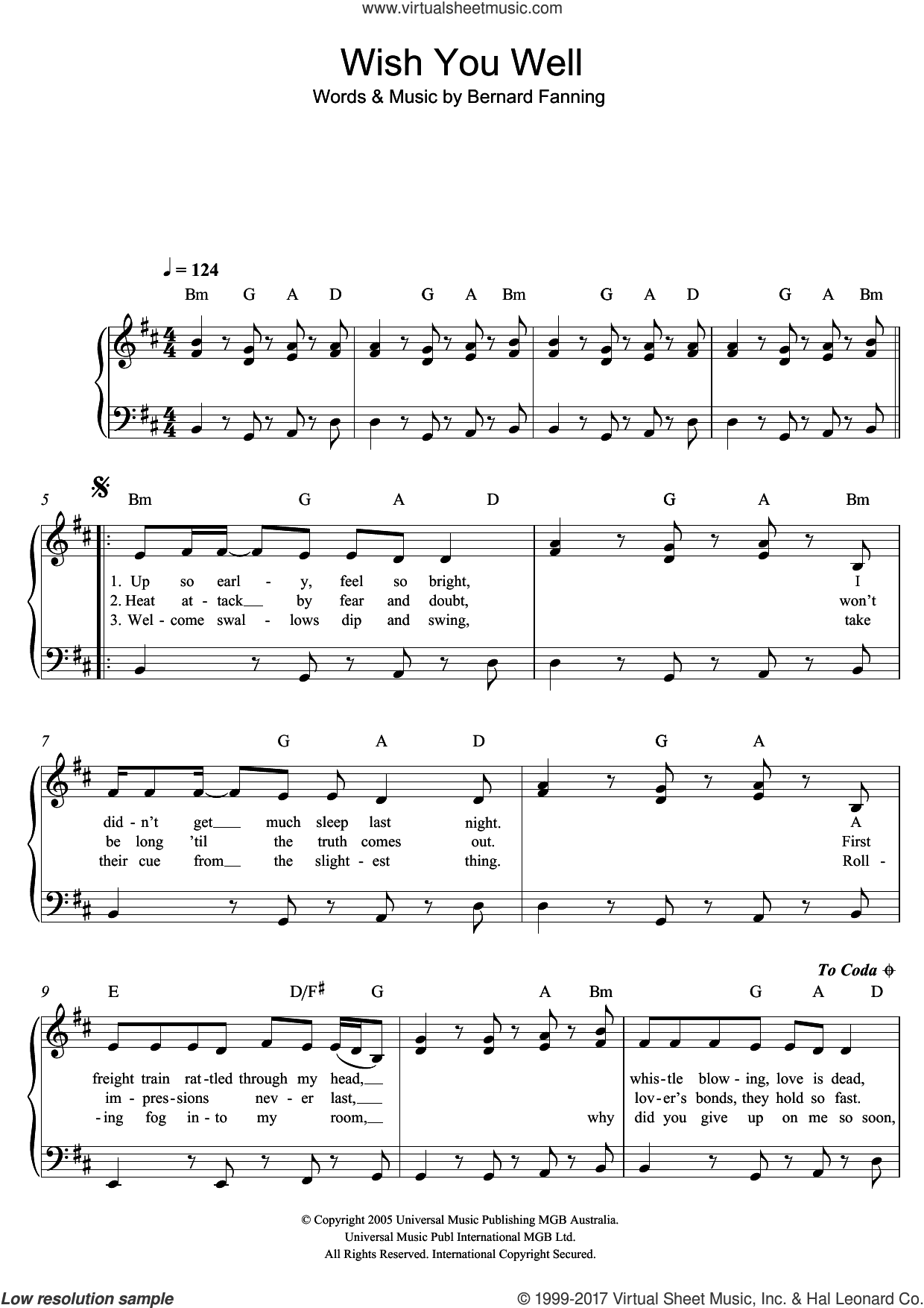 Wish You Well sheet music for piano solo by Bernard Fanning, easy skill level