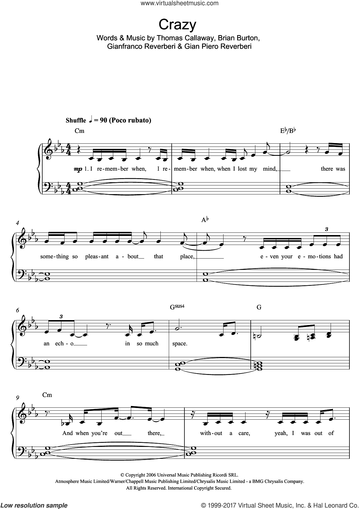 Crazy sheet music for piano solo by Kate Noonan, easy. Score Image Preview.