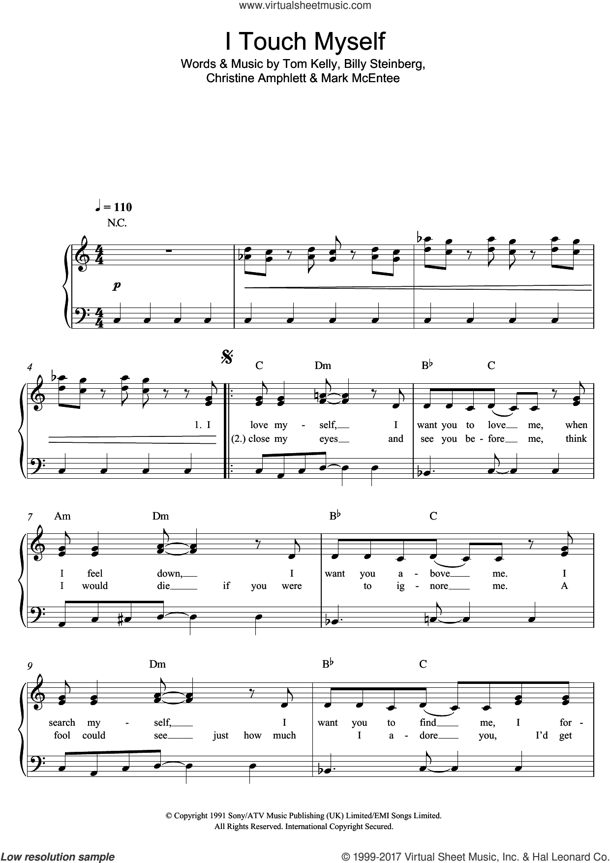 I Touch Myself sheet music for piano solo by Divinyls. Score Image Preview.