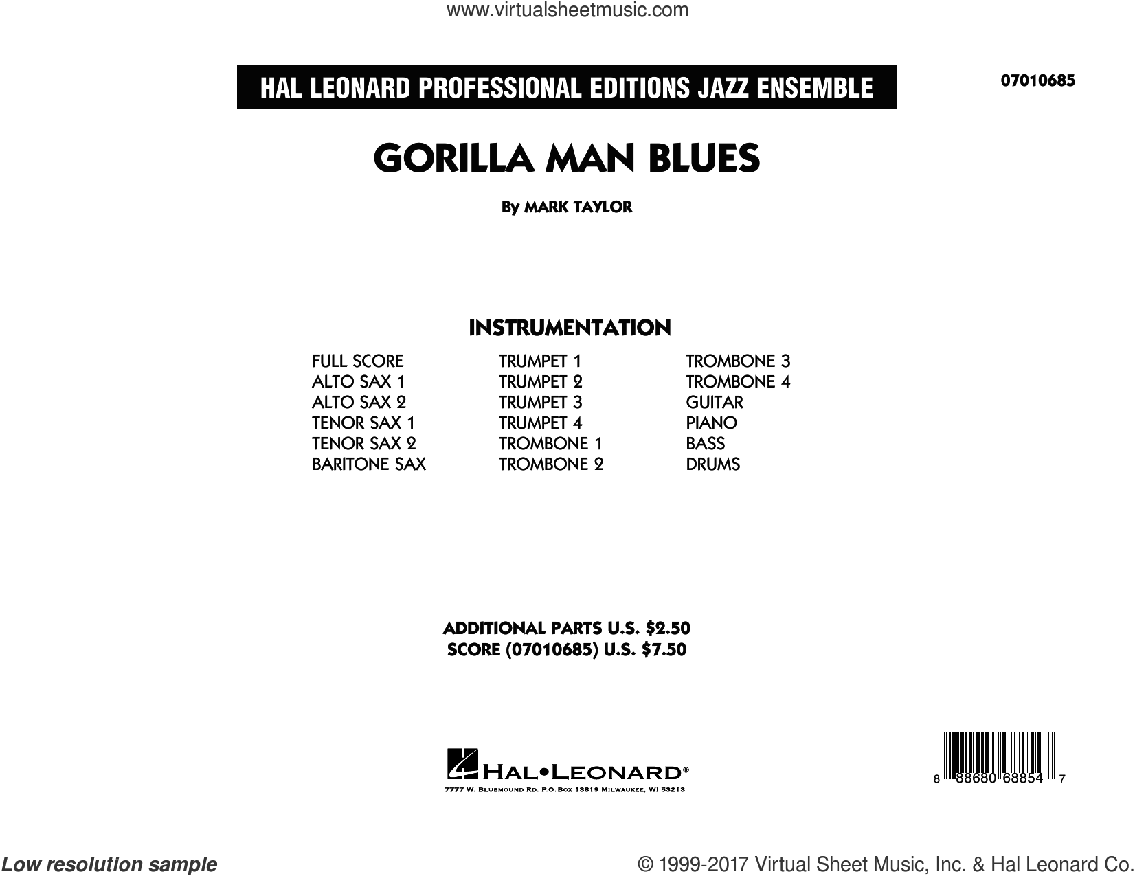 Gorilla Man Blues (COMPLETE) sheet music for jazz band by Mark Taylor. Score Image Preview.