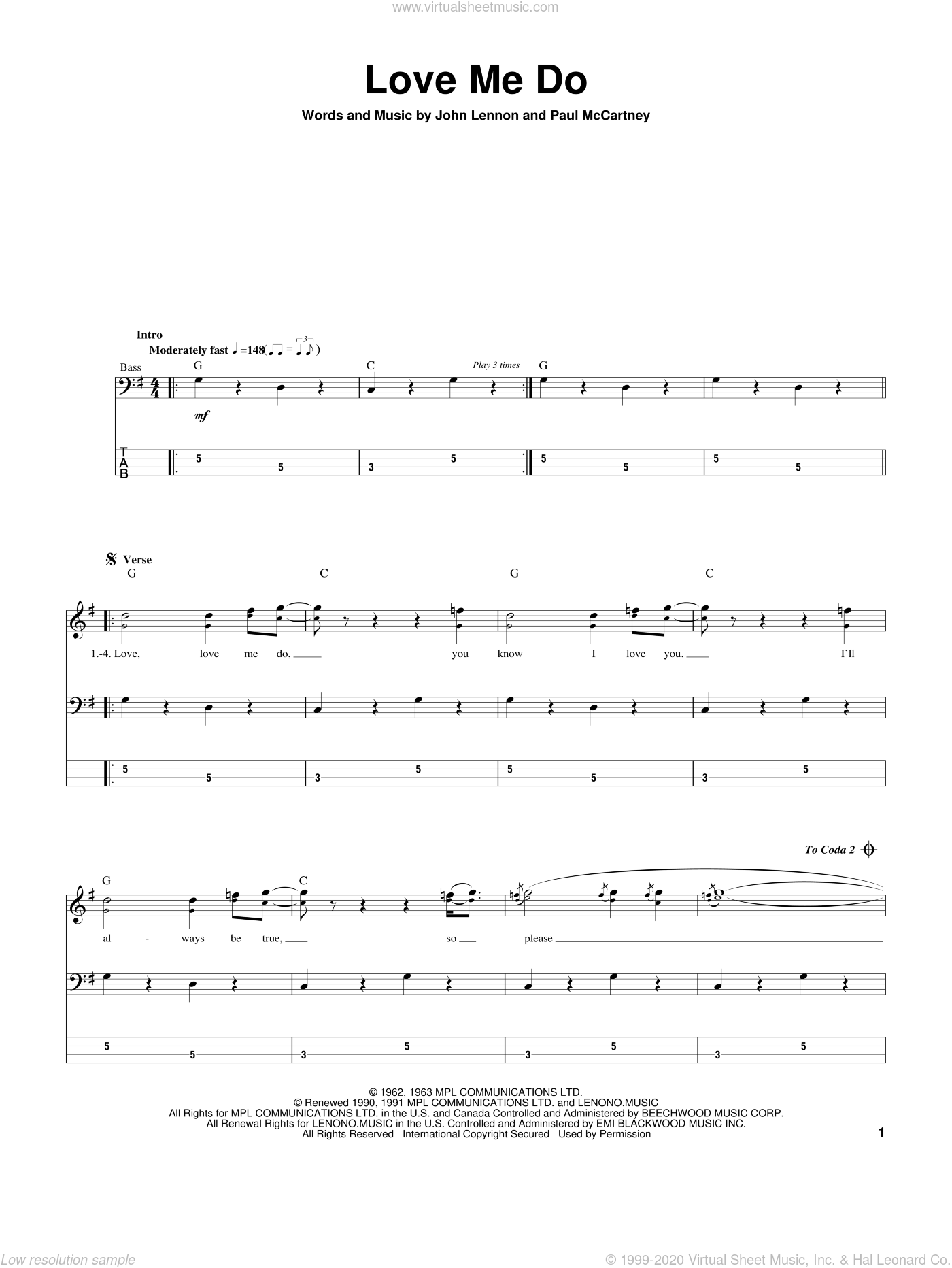 Love Me Do sheet music for bass (tablature) (bass guitar) by Paul McCartney, The Beatles and John Lennon. Score Image Preview.