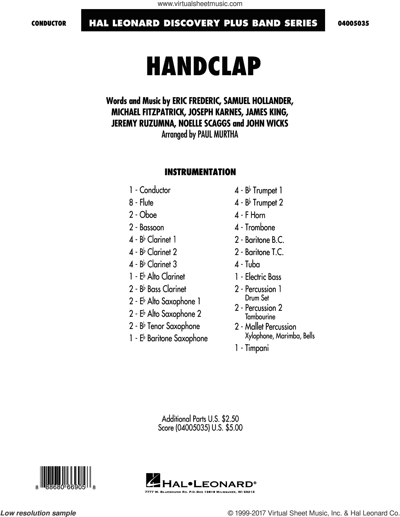 HandClap, complete set of parts (COMPLETE) sheet music for concert band by Sam Hollander, Paul Murtha, Fitz And The Tantrums, Eric Frederic, James King, Jeremy Ruzumna, John Wicks, Joseph Karnes, Michael Fitzpatrick and Noelle Scaggs, intermediate