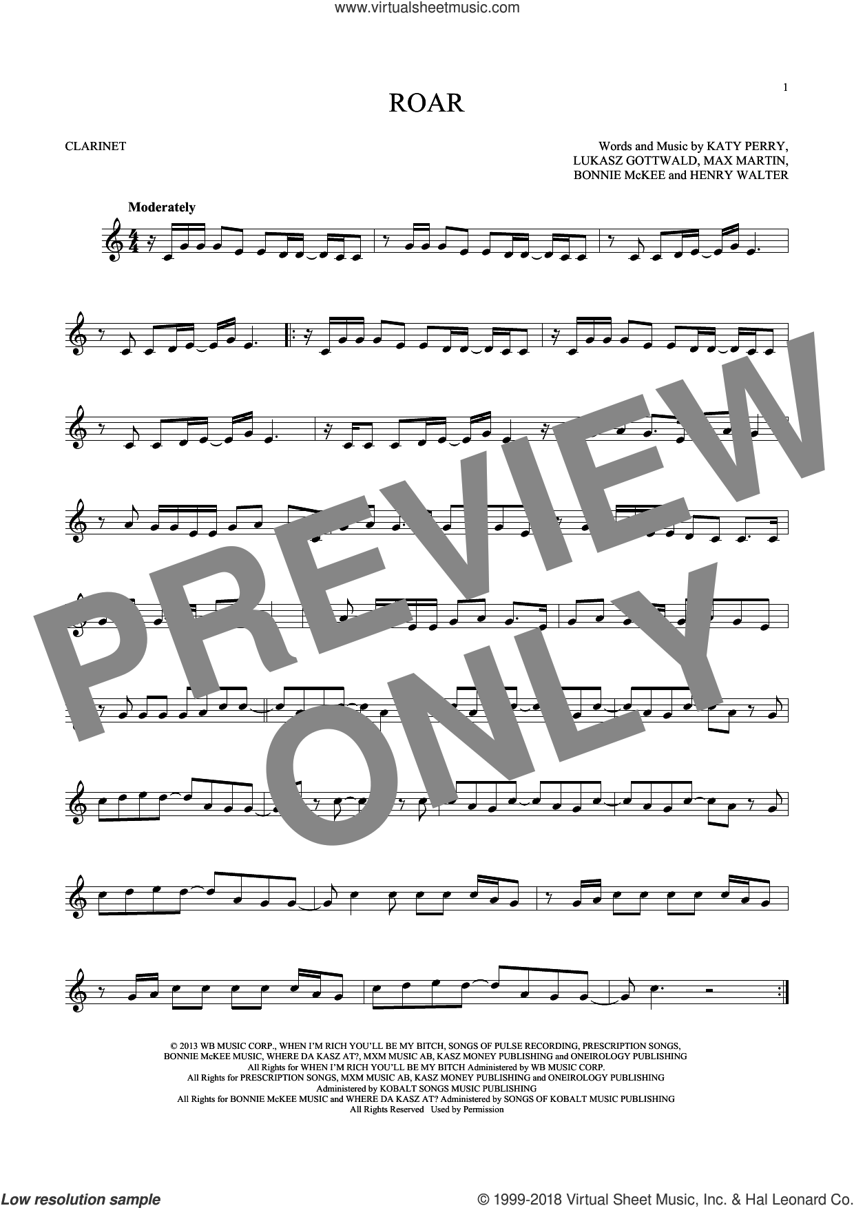 Roar sheet music for clarinet solo by Katy Perry, Bonnie McKee, Henry Walter, Lukasz Gottwald and Max Martin. Score Image Preview.