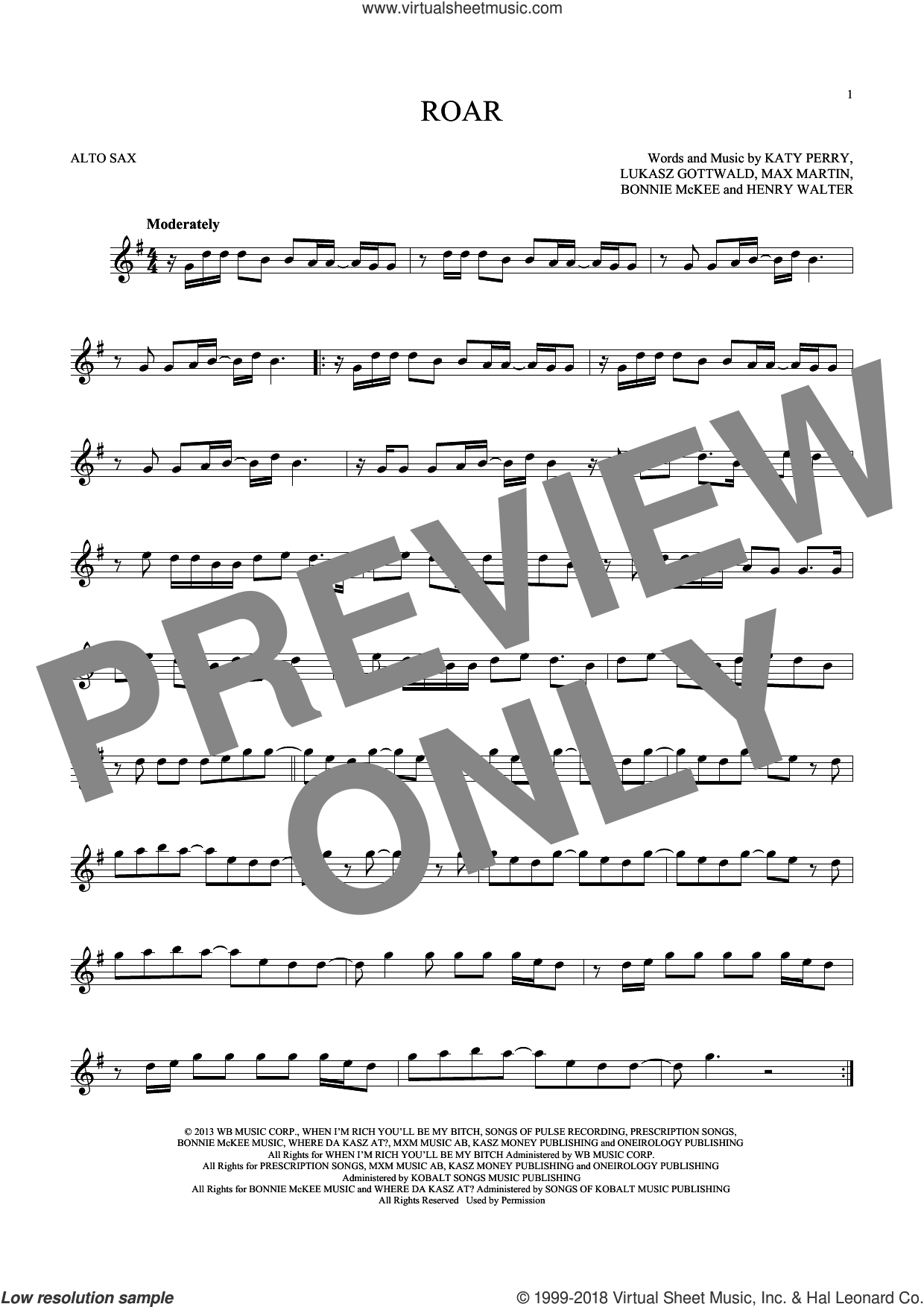 Roar sheet music for alto saxophone solo ( Sax) by Katy Perry, Bonnie McKee, Henry Walter, Lukasz Gottwald and Max Martin, intermediate alto saxophone ( Sax). Score Image Preview.