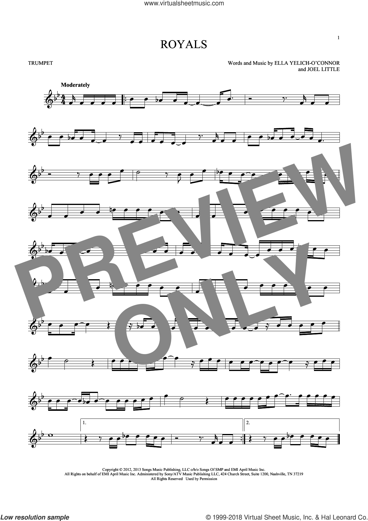 Royals sheet music for trumpet solo by Lorde and Joel Little, intermediate skill level