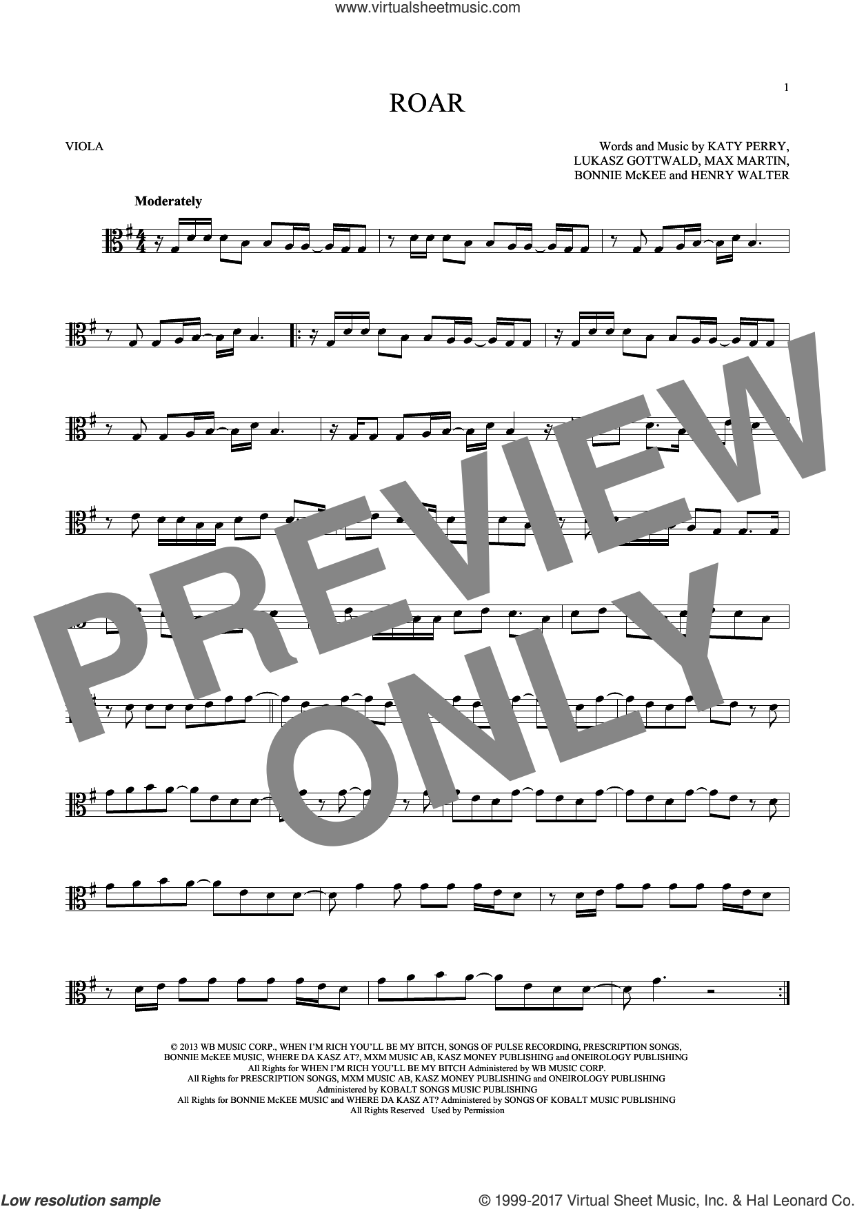Roar sheet music for viola solo by Max Martin, Bonnie McKee, Henry Walter, Katy Perry and Lukasz Gottwald. Score Image Preview.