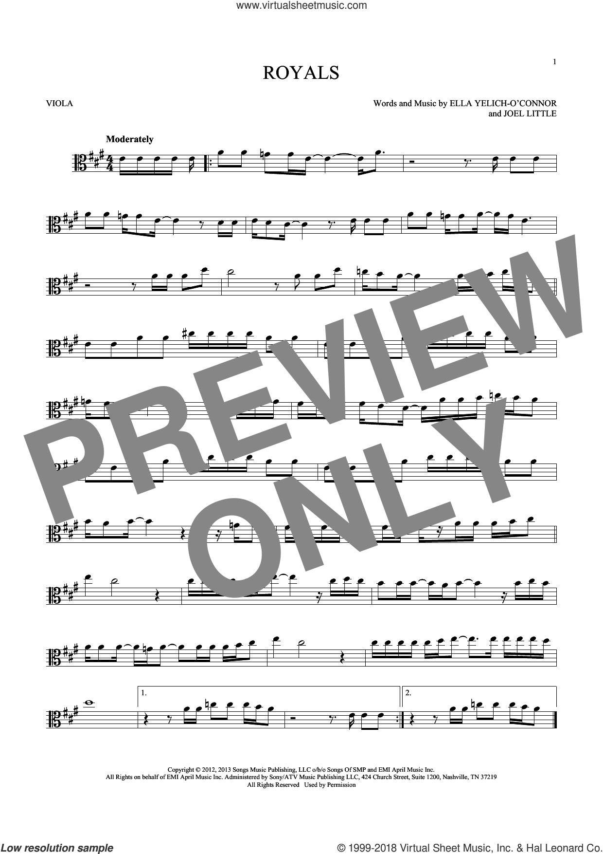 Royals sheet music for viola solo by Lorde, intermediate. Score Image Preview.