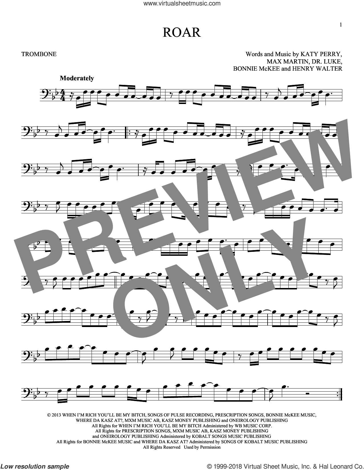 Roar sheet music for trombone solo by Max Martin, Bonnie McKee, Henry Walter, Katy Perry and Lukasz Gottwald. Score Image Preview.