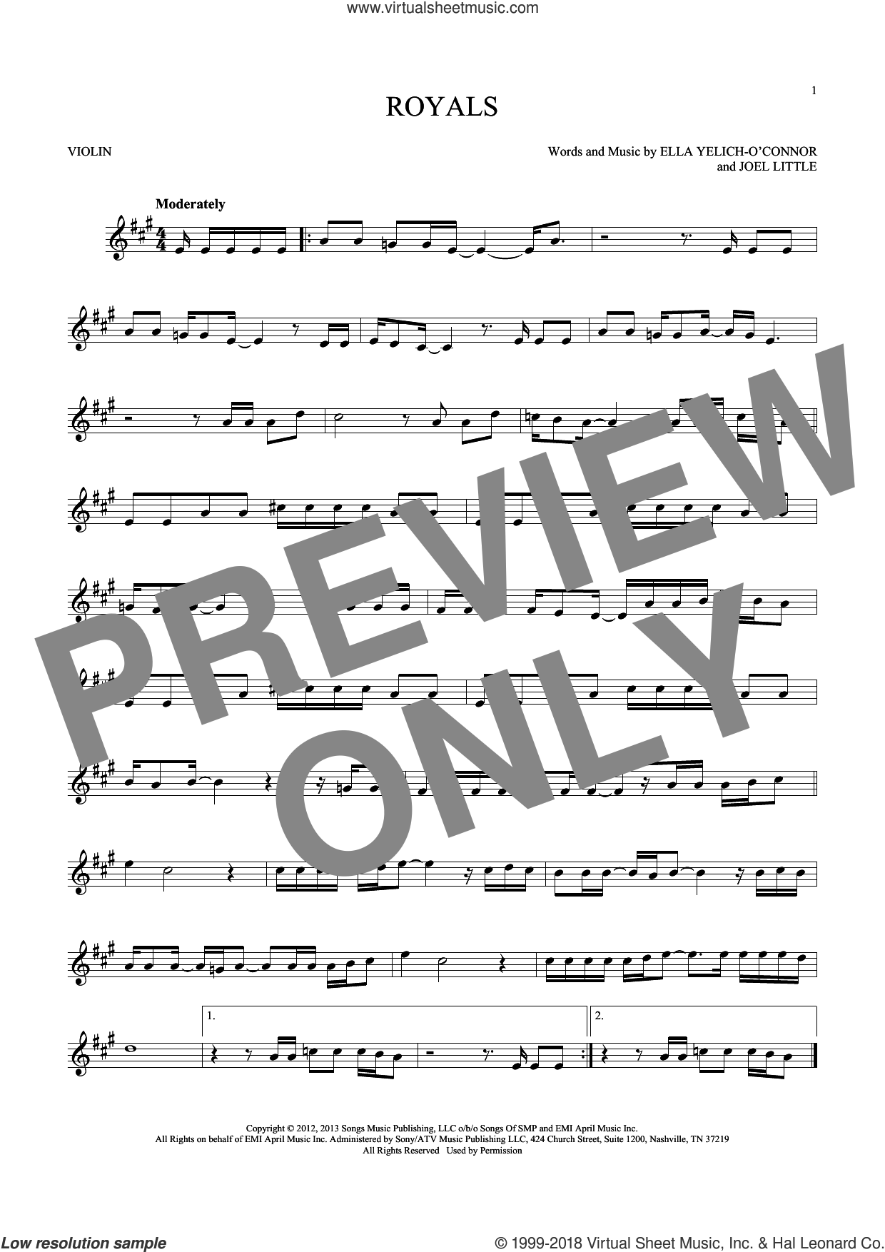 Royals sheet music for violin solo by Lorde and Joel Little, intermediate skill level