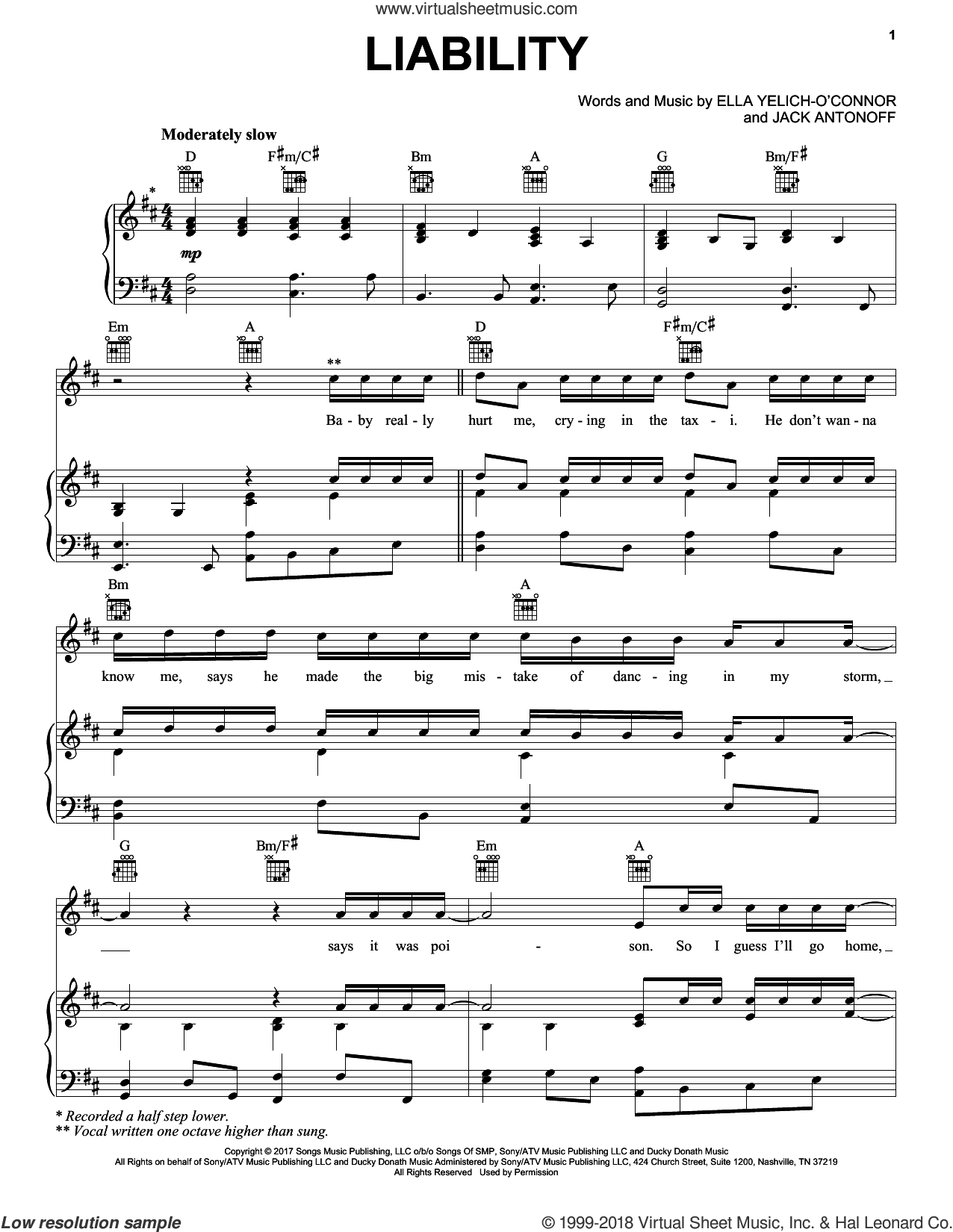Liability sheet music for voice, piano or guitar by Lorde and Jack Antonoff, intermediate. Score Image Preview.
