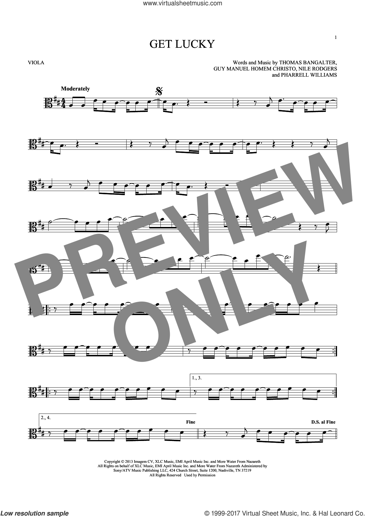 Get Lucky sheet music for viola solo by Daft Punk Featuring Pharrell Williams, Nile Rodgers and Pharrell Williams, intermediate viola. Score Image Preview.