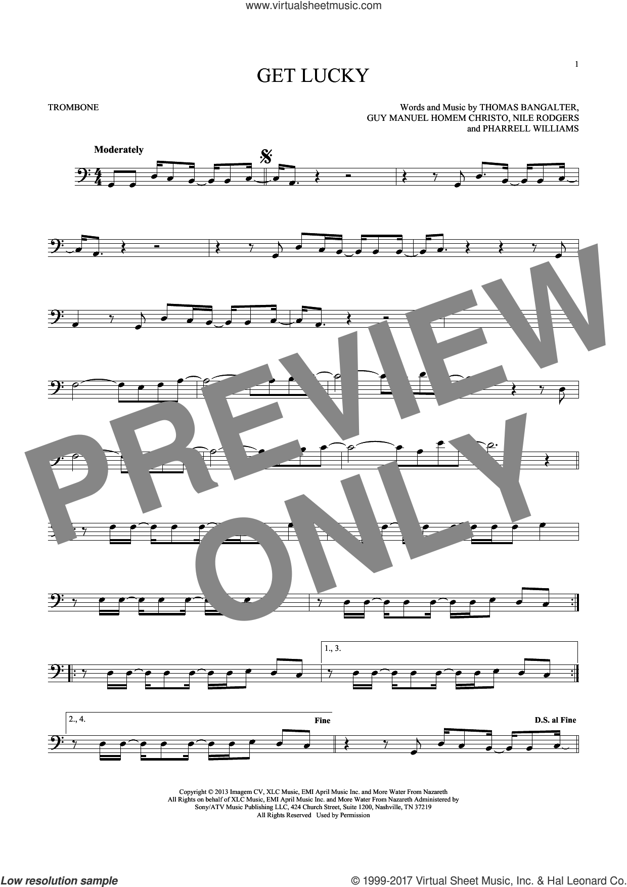 Get Lucky sheet music for trombone solo by Thomas Bangalter, Daft Punk Featuring Pharrell Williams, Nile Rodgers and Pharrell Williams. Score Image Preview.