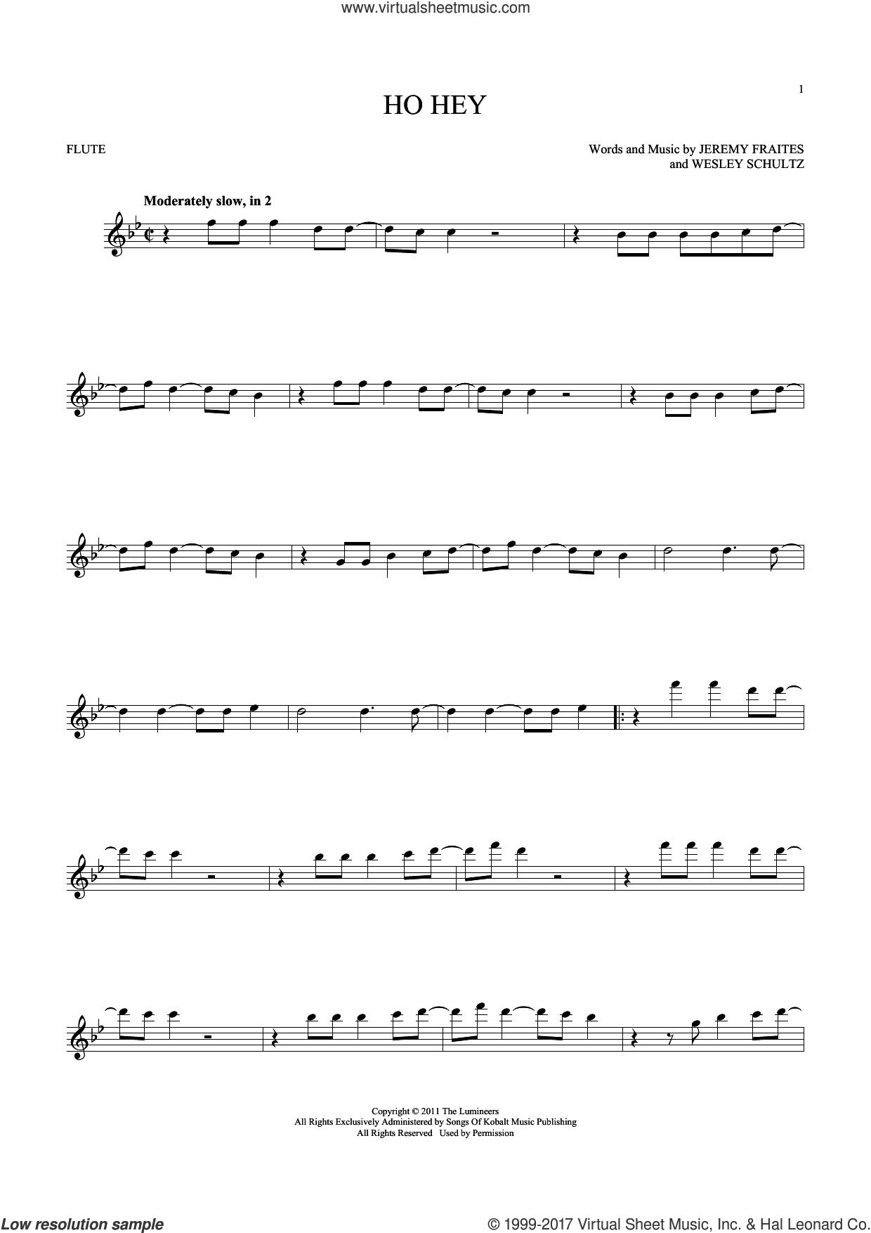 Ho Hey sheet music for flute solo by Wesley Schultz, The Lumineers and Jeremy Fraites. Score Image Preview.