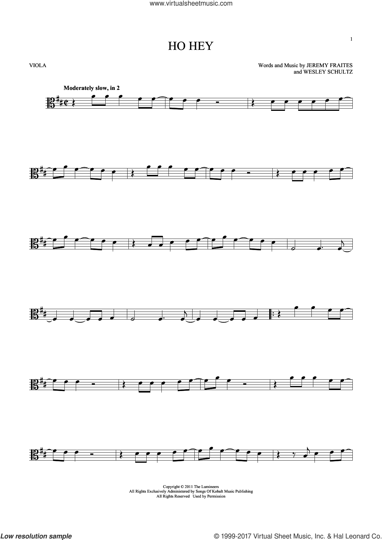 Ho Hey sheet music for viola solo by The Lumineers. Score Image Preview.
