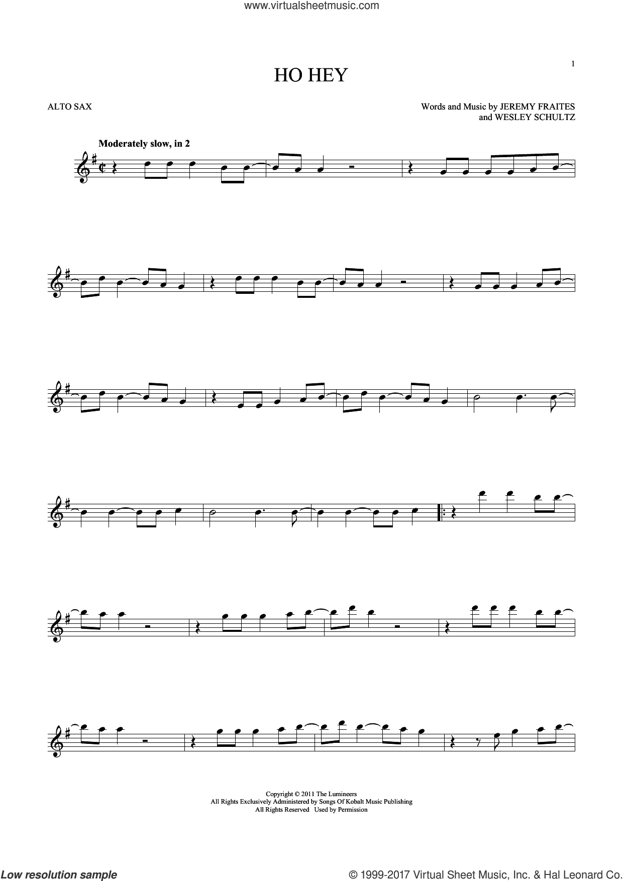 Ho Hey sheet music for alto saxophone solo by The Lumineers, Lennon & Maisy, Jeremy Fraites and Wesley Schultz, intermediate skill level