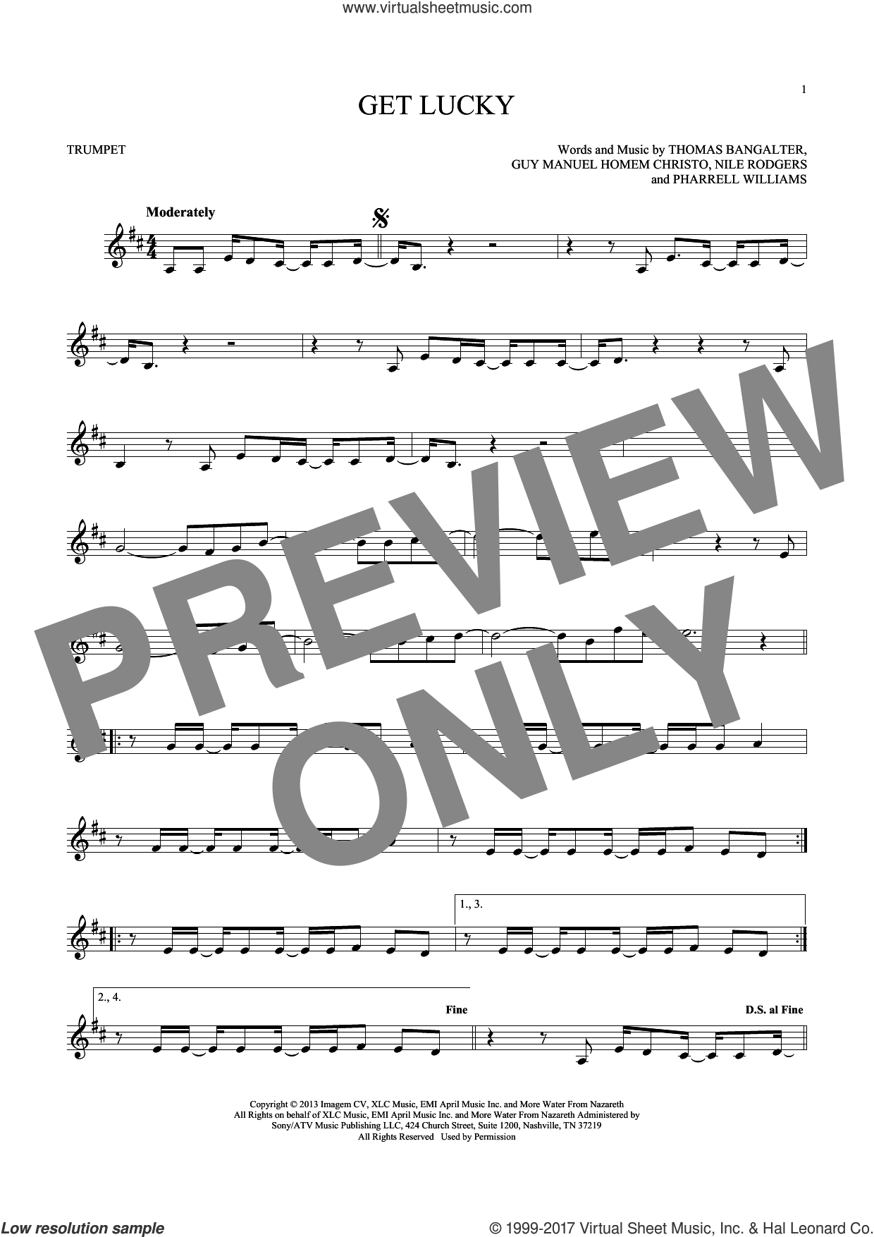 Get Lucky sheet music for trumpet solo by Thomas Bangalter, Daft Punk Featuring Pharrell Williams, Nile Rodgers and Pharrell Williams. Score Image Preview.