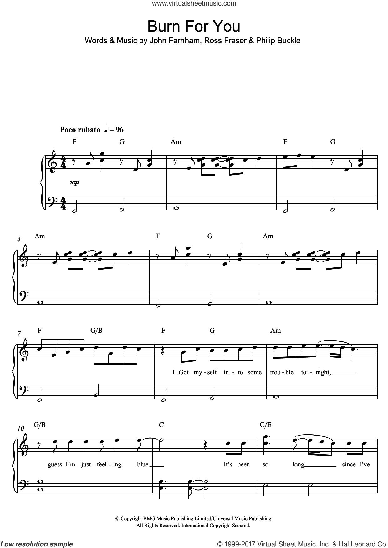 Burn For You sheet music for piano solo by John Farnham. Score Image Preview.