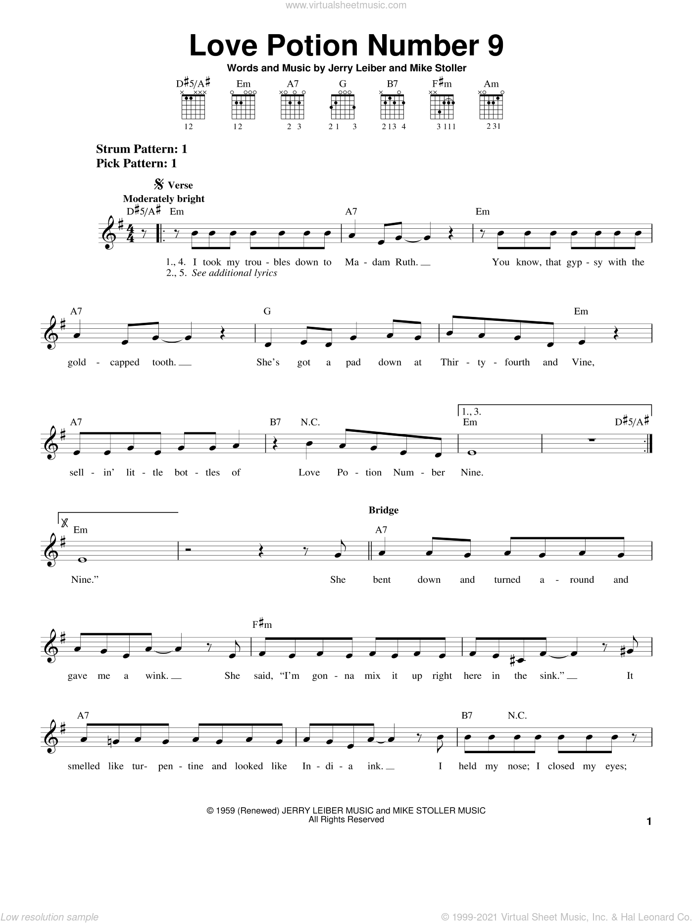 Love Potion Number 9 sheet music for guitar solo (chords) by The Searchers, Leiber & Stoller, Jerry Leiber and Mike Stoller, easy guitar (chords)