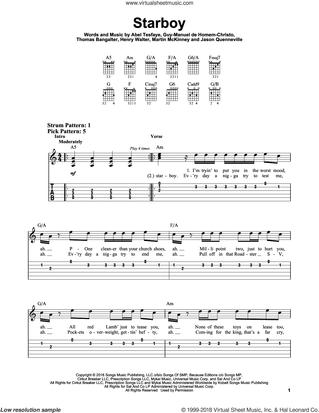 Starboy sheet music for guitar solo (easy tablature) by The Weeknd feat. Daft Punk, easy guitar (easy tablature). Score Image Preview.