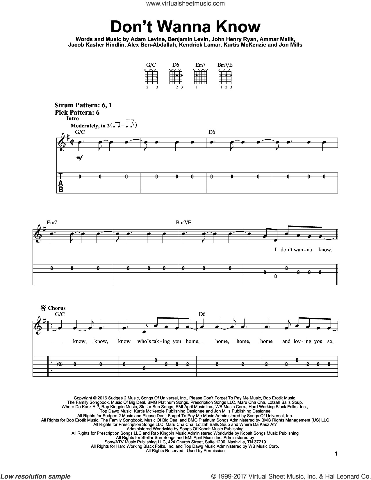 Don't Wanna Know sheet music for guitar solo (easy tablature) by Kurtis McKenzie, Adam Levine, Ammar Malik, Benjamin Levin and Jacob Kasher Hindlin. Score Image Preview.