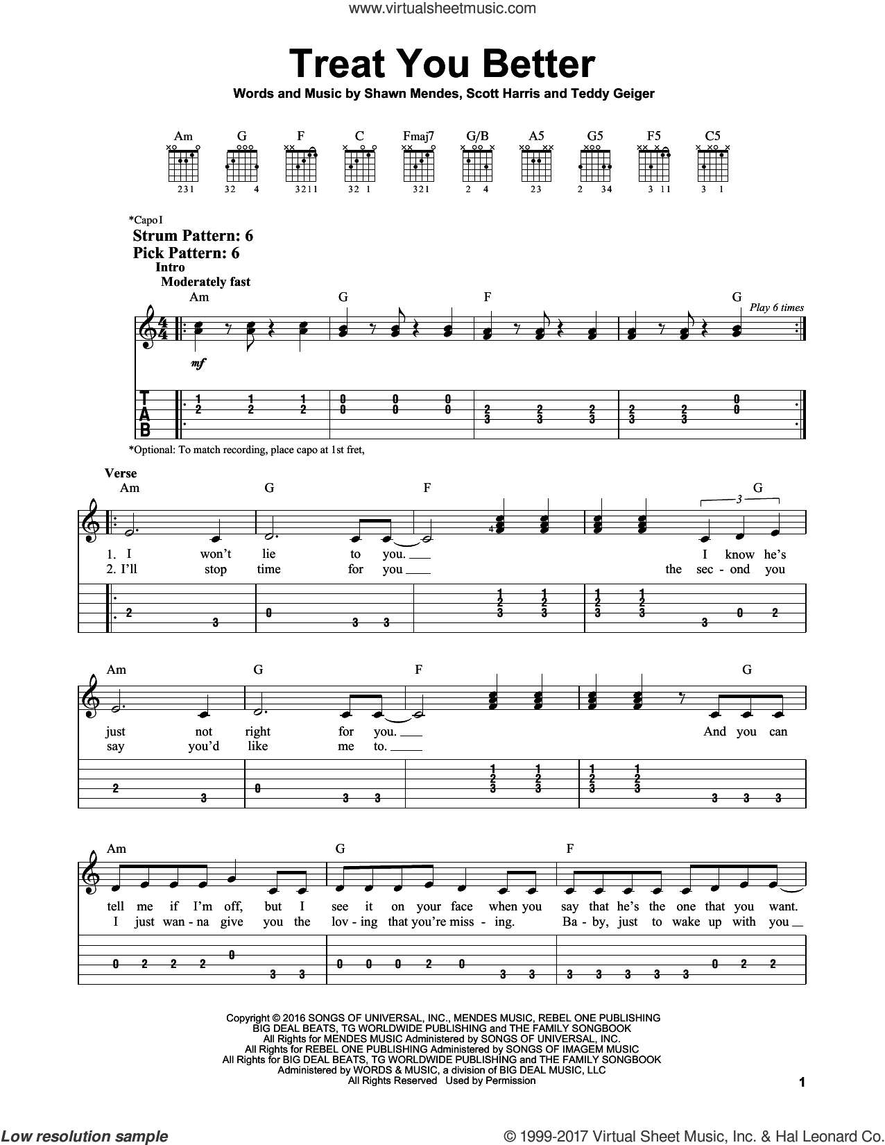 Treat You Better sheet music for guitar solo (easy tablature) by Shawn Mendes and Teddy Geiger, easy guitar (easy tablature). Score Image Preview.