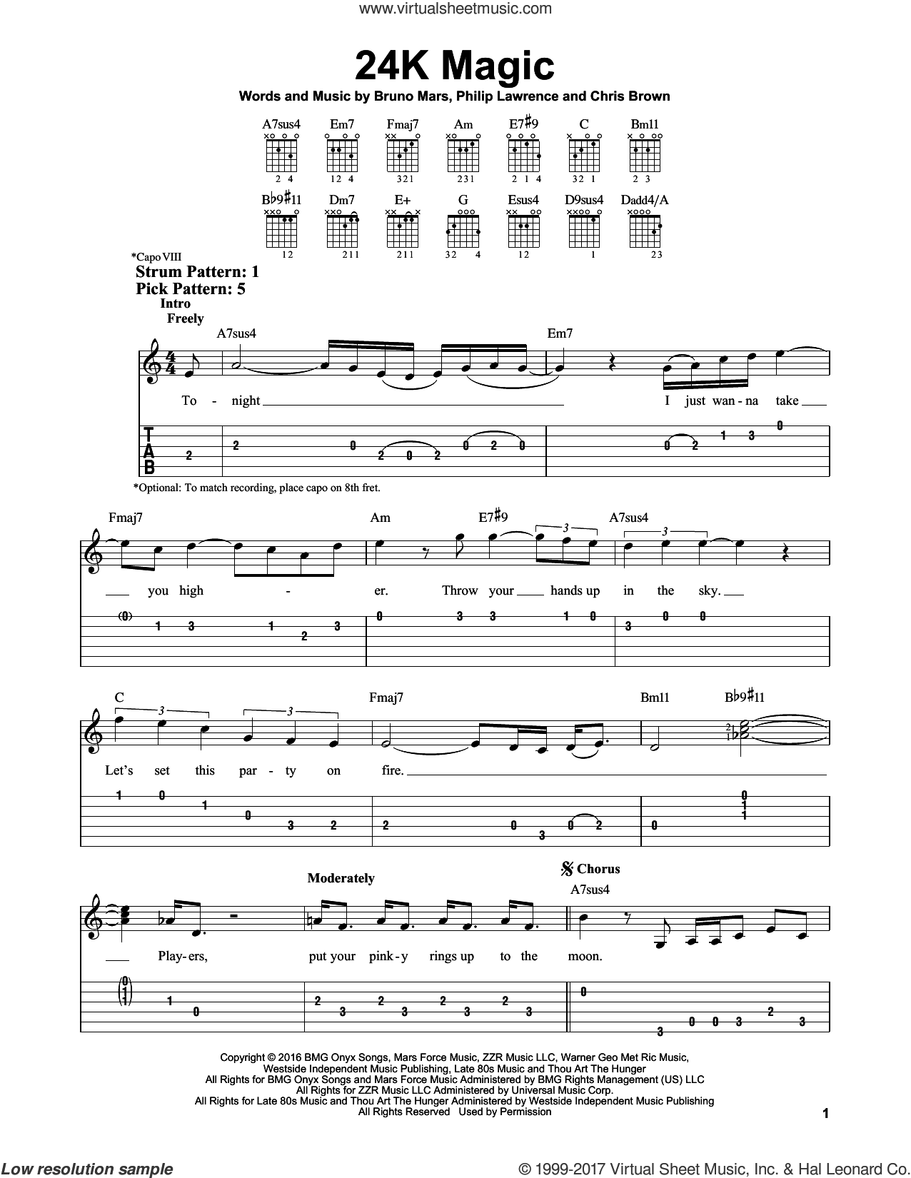 24K Magic sheet music for guitar solo (easy tablature) by Bruno Mars, Chris Brown and Philip Lawrence, easy guitar (easy tablature). Score Image Preview.