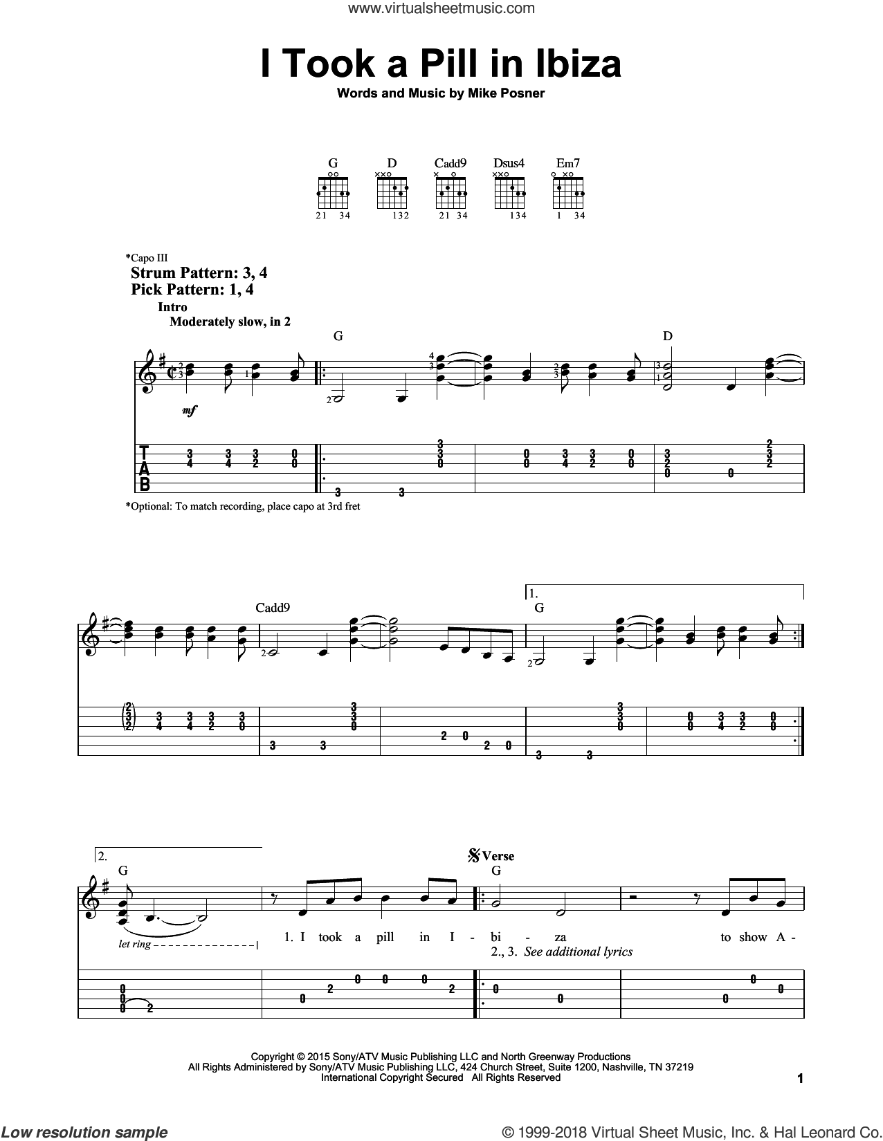 I Took A Pill In Ibiza sheet music for guitar solo (easy tablature) by Mike Posner. Score Image Preview.