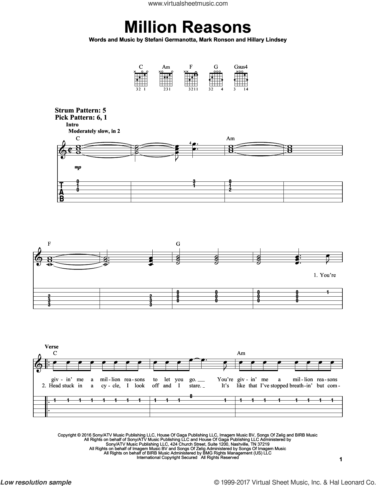Million Reasons sheet music for guitar solo (easy tablature) by Mark Ronson, Hillary Lindsey and Lady Gaga. Score Image Preview.