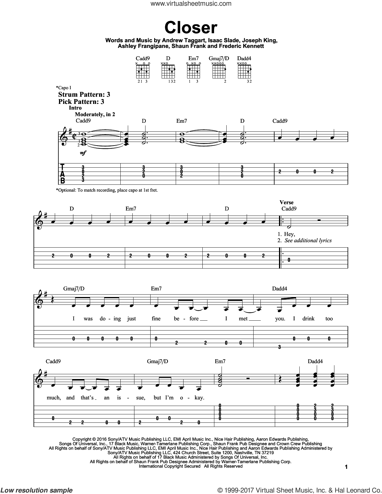 Closer sheet music for guitar solo (easy tablature) by The Chainsmokers featuring Halsey, Andrew Taggart, Ashley Frangipane, Frederic Kennett, Isaac Slade, Joseph King and Shaun Frank, easy guitar (easy tablature)