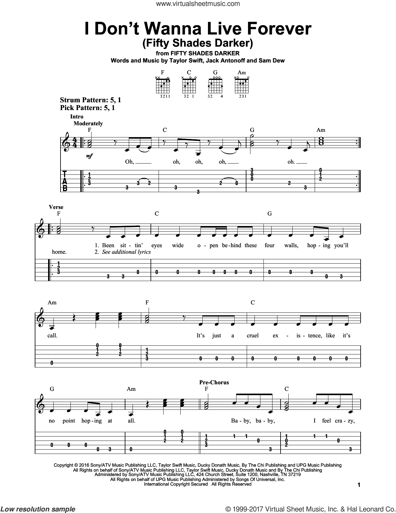 I Don't Wanna Live Forever (Fifty Shades Darker) sheet music for guitar solo (easy tablature) by Zayn and Taylor Swift, Jack Antonoff and Taylor Swift, easy guitar (easy tablature). Score Image Preview.