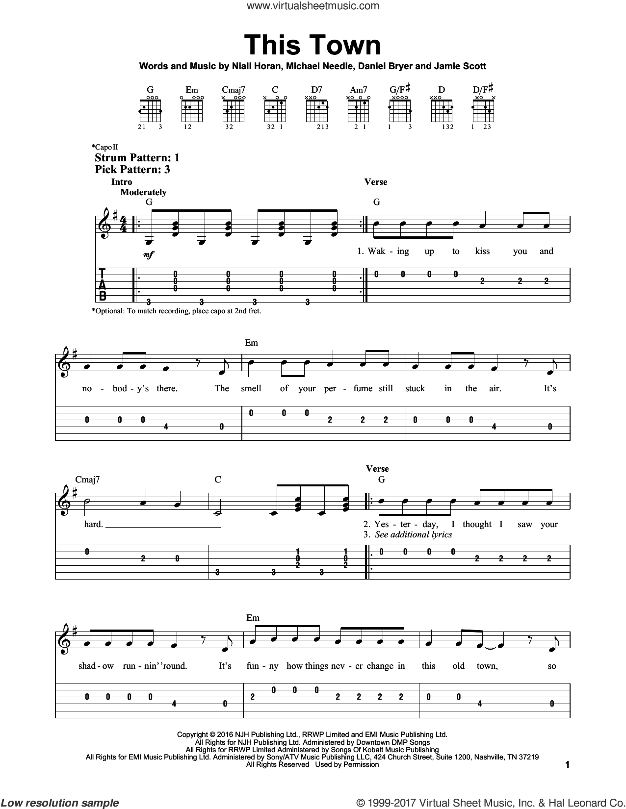 This Town sheet music for guitar solo (easy tablature) by Niall Horan, Daniel Bryer, Jamie Scott and Michael Needle, easy guitar (easy tablature)