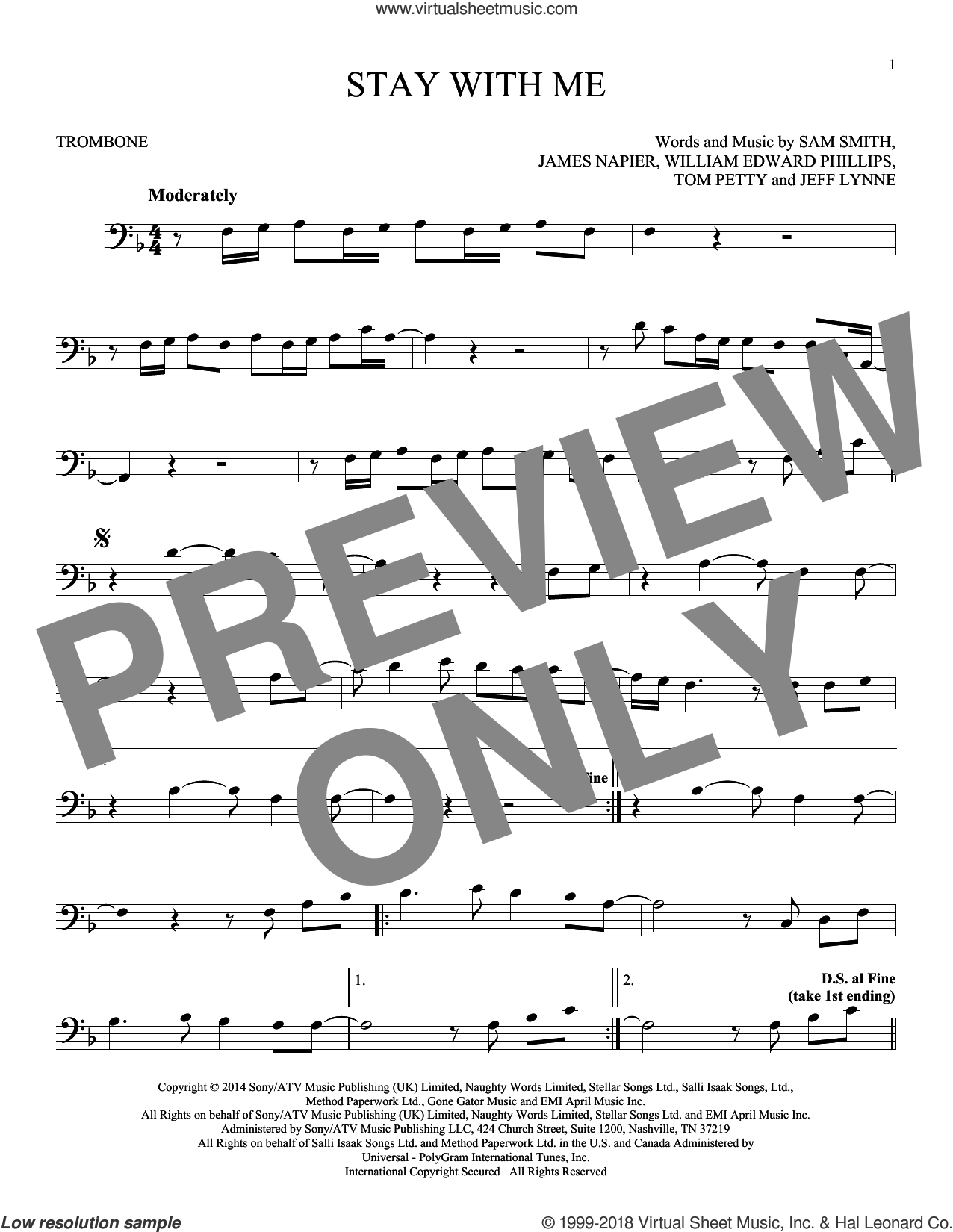 Stay With Me sheet music for trombone solo by William Edward Phillips, James Napier, Jeff Lynne, Sam Smith and Tom Petty. Score Image Preview.