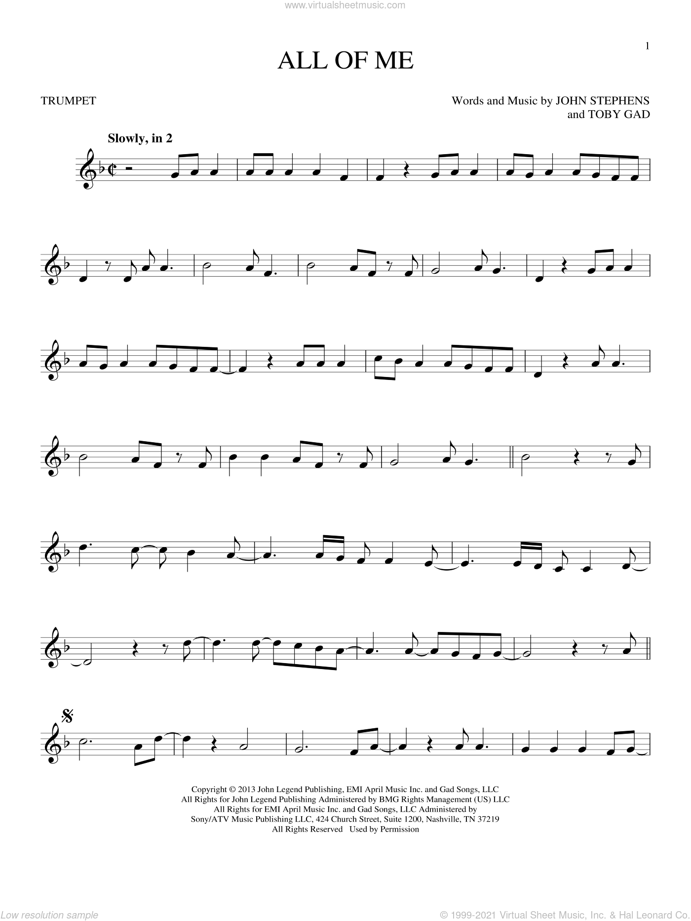 All Of Me sheet music for trumpet solo by Toby Gad, John Legend and John Stephens. Score Image Preview.