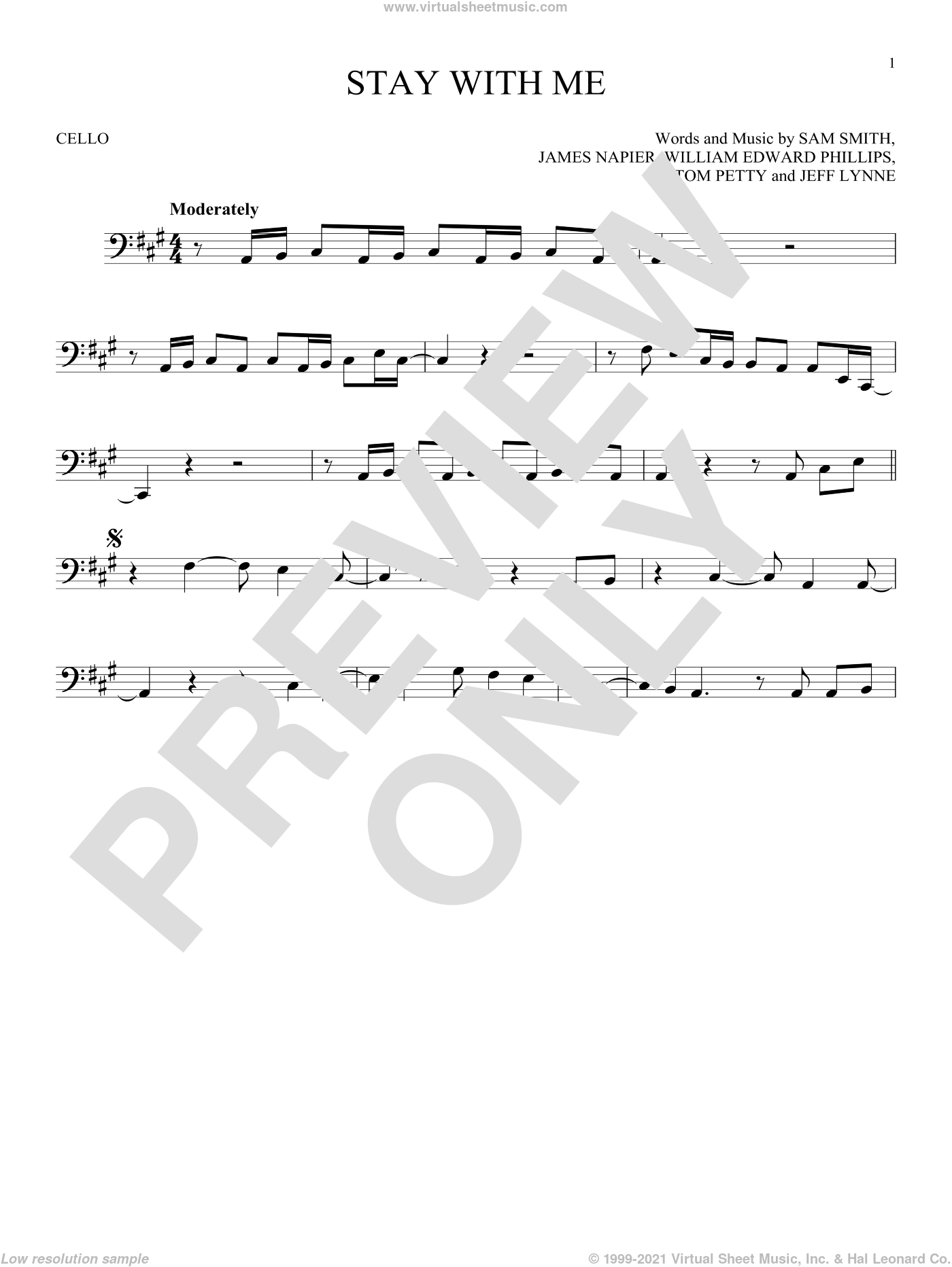 Stay With Me sheet music for cello solo by Sam Smith, James Napier, Jeff Lynne, Tom Petty and William Edward Phillips, intermediate skill level