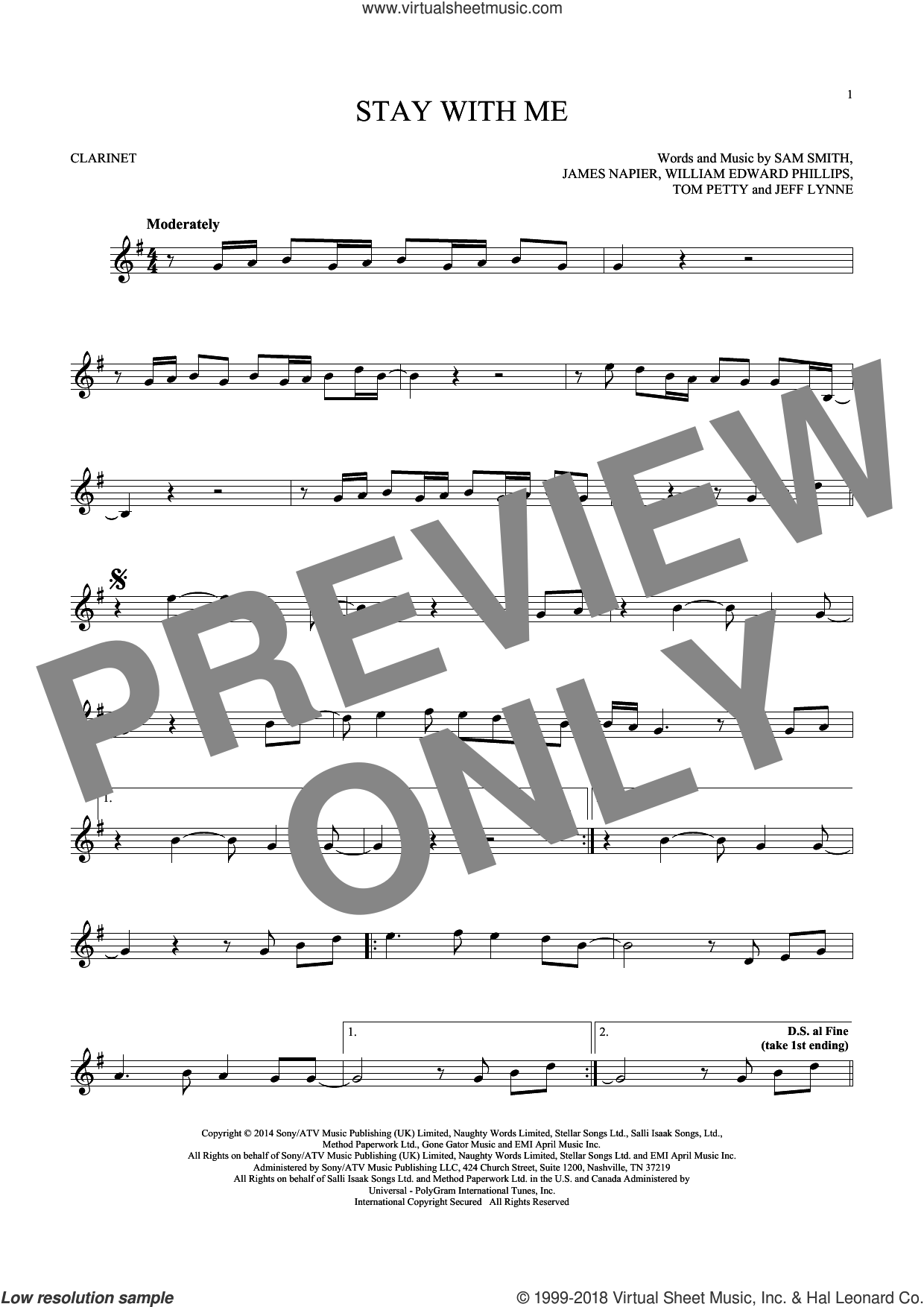 Stay With Me sheet music for clarinet solo by Sam Smith, James Napier, Jeff Lynne, Tom Petty and William Edward Phillips, intermediate skill level