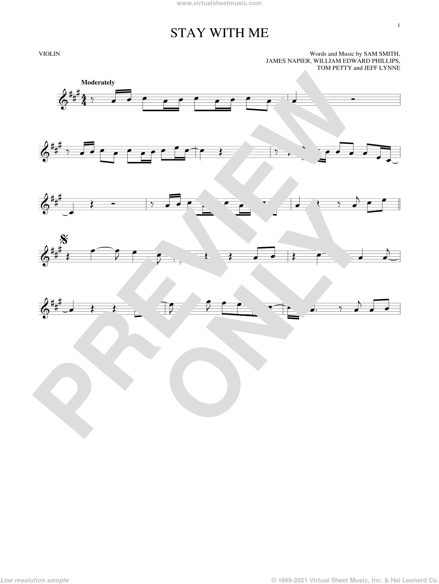 Stay With Me sheet music for violin solo by Sam Smith, James Napier, Jeff Lynne, Tom Petty and William Edward Phillips, intermediate skill level